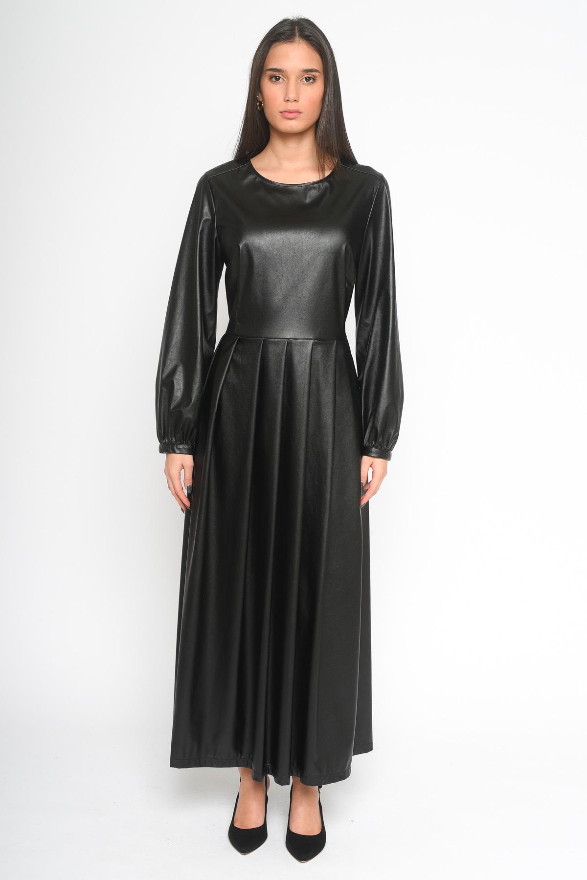 ABITO LUNGO IN ECOPELLE  for woman - BLACK - Paquito Pronto Moda Shop Online