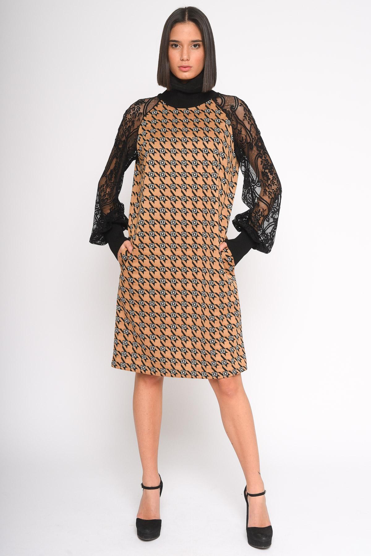 ABITO A COLLO ALTO IN FANTASIA CON MANICHE IN PIZZO  da donna - UNICA - Paquito Pronto Moda Shop Online