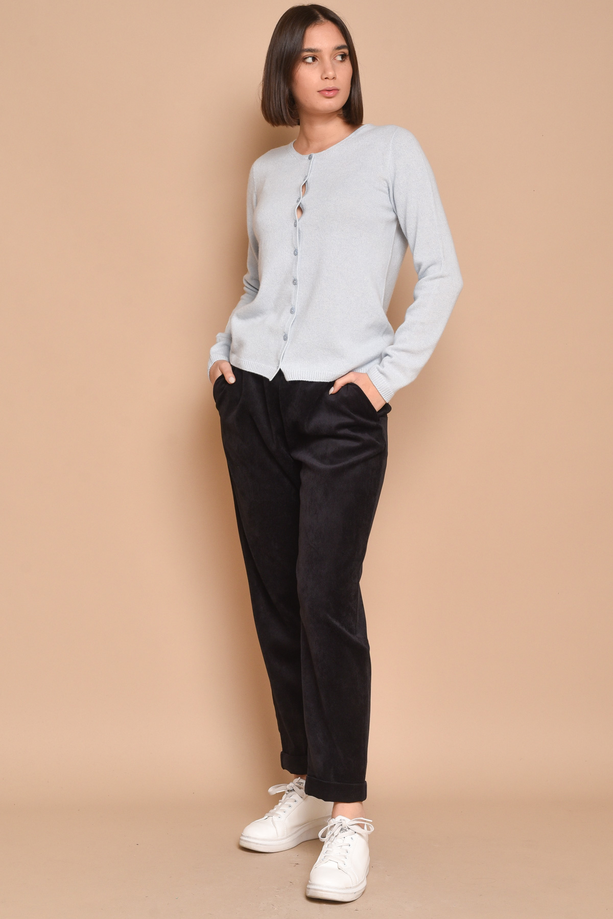 KOREAN NECKLINE CASHMERE CARDIGAN  for woman - LIGHT BLUE - Paquito Pronto Moda Shop Online