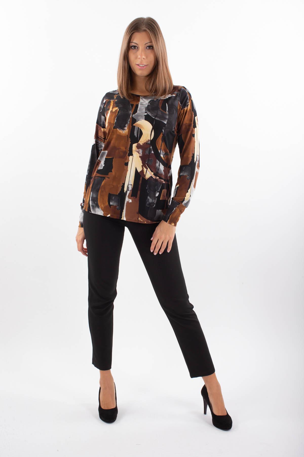BLUSA FANTASIA PENNELLATE  da donna - TABACCO - Paquito Pronto Moda Shop Online