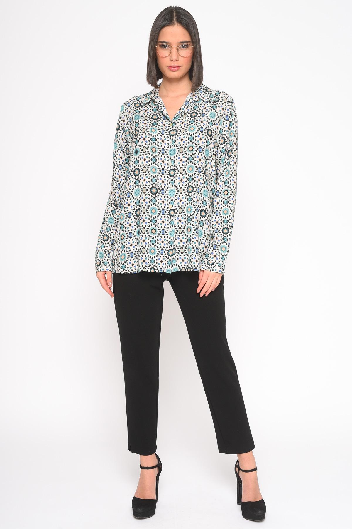 SHIRT IN FANTASY VISCOSE for women - GREEN - Paquito Pronto Moda Shop Online