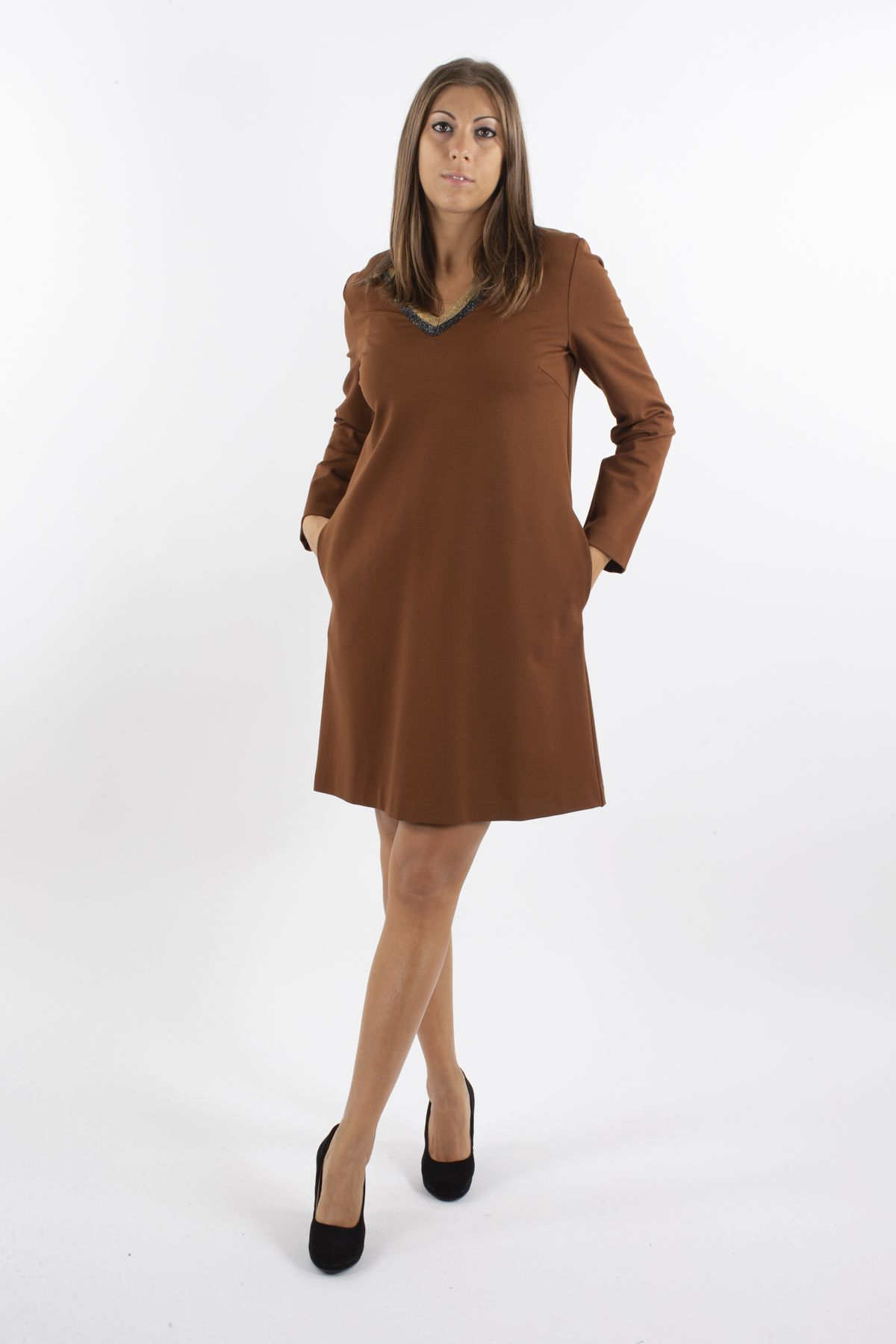 VISCOSE DRESS WITH LUREX ON THE NECKLINE  for woman - BURNT - Paquito Pronto Moda Shop Online
