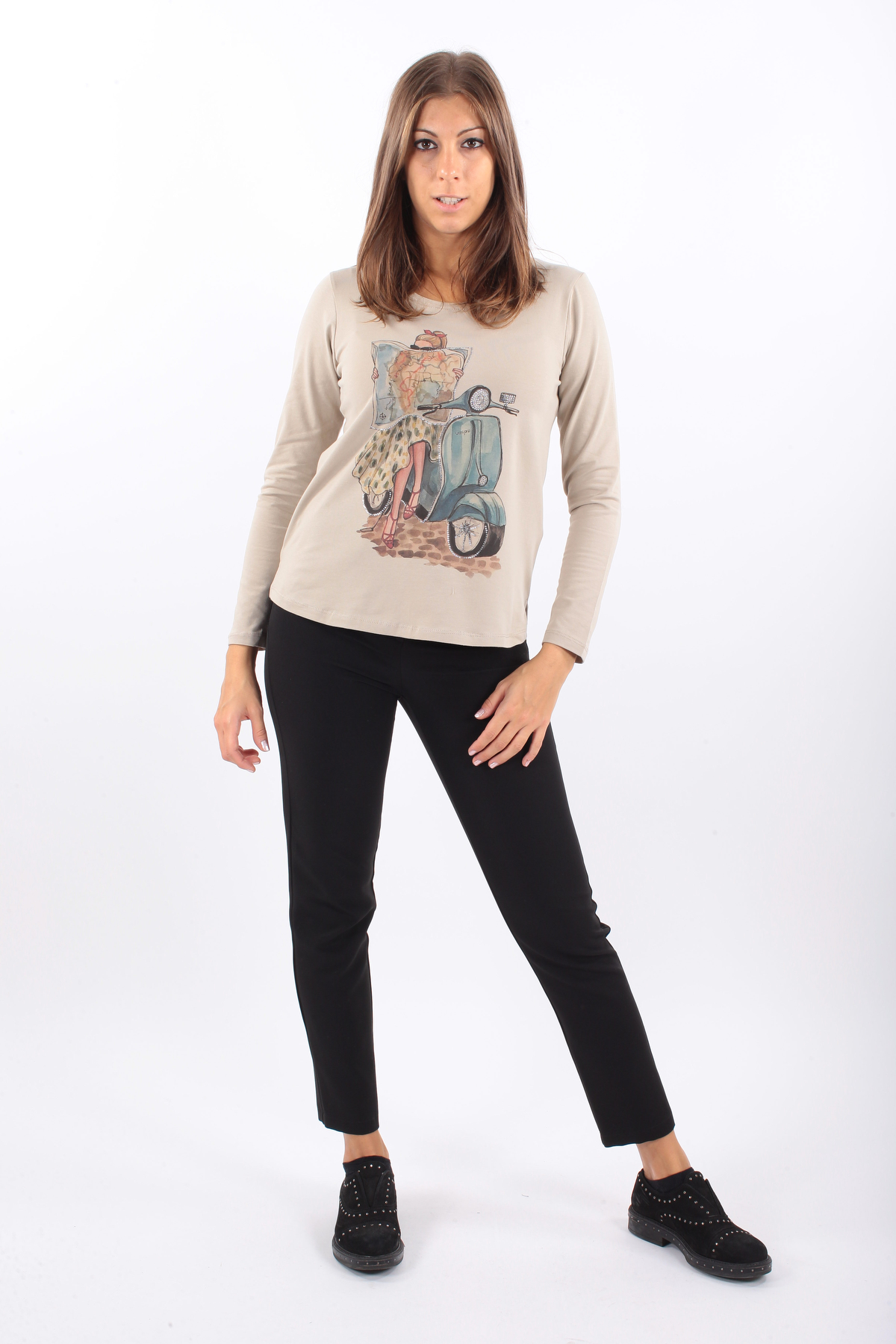 LONG-SLEEVED COTTON T-SHIRT WITH STRASS for women - CAMEL - Paquito Pronto Moda Shop Online