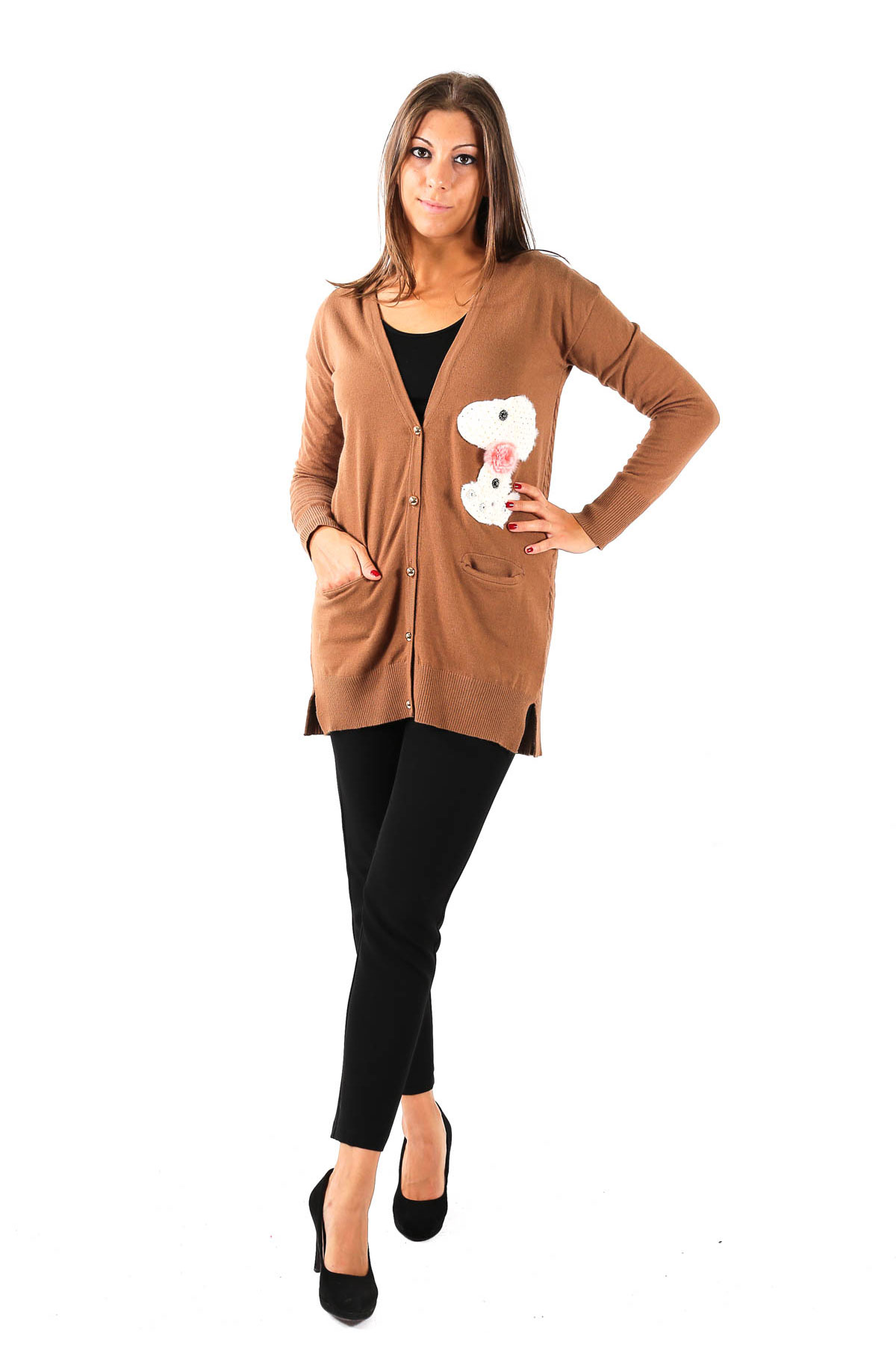 VISCOSE CARDIGAN WITH JEWEL APPLICATIONS  for woman - TOBACCO - Paquito Pronto Moda Shop Online