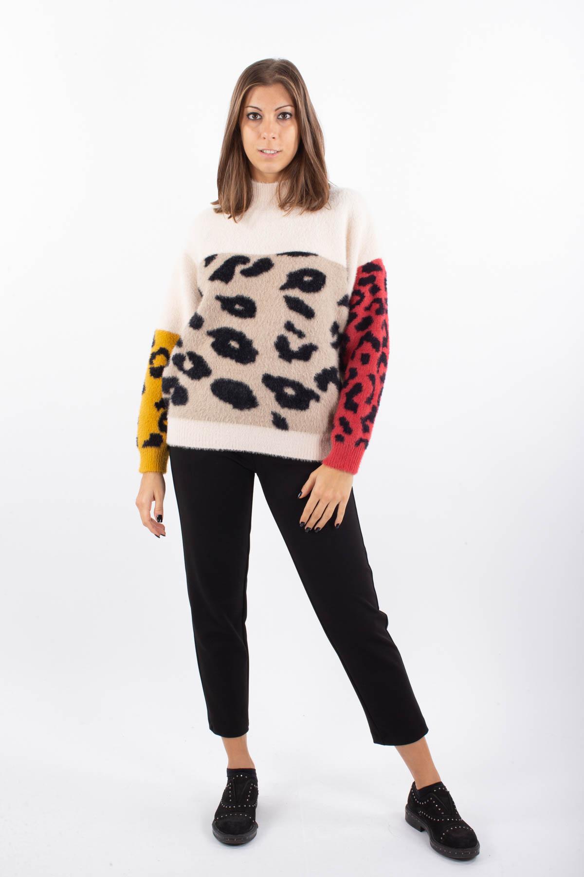 MAGLIA IN PELO CON STAMPA MACULATA  da donna - PANNA - Paquito Pronto Moda Shop Online