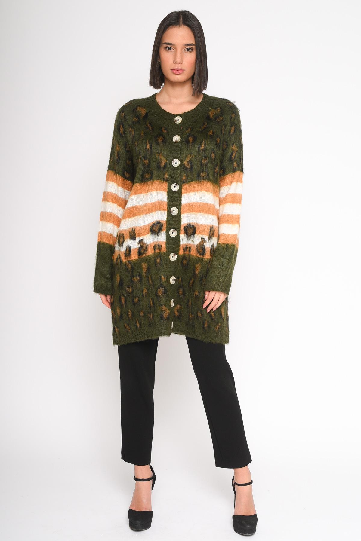 CARDIGAN IN FANTASIA MACULATA  da donna - MILITARE - Paquito Pronto Moda Shop Online
