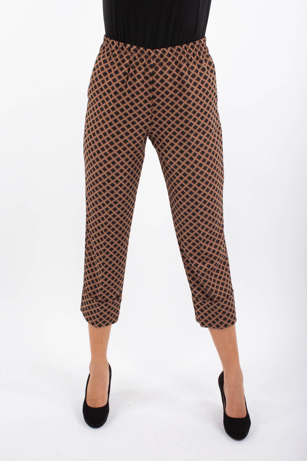 PANTALONE A QUADRI CON RISVOLTO SUL FONDO  for woman - CAMEL - Paquito Pronto Moda Shop Online