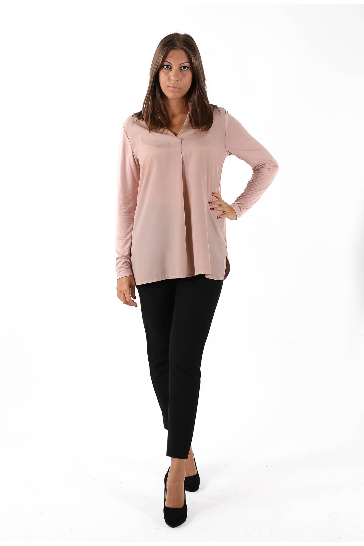 POLO SHIRT WITH GEORGETTE ON THE FRONT  for woman -  - Paquito Pronto Moda Shop Online