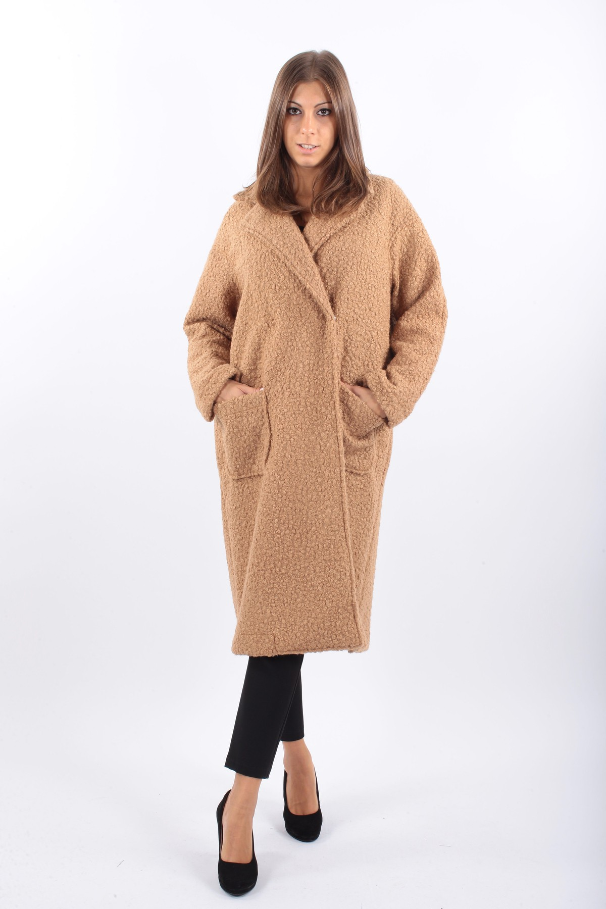 CAPPOTTO IN TESSUTO BUCLET for women - CAMEL - Paquito Pronto Moda Shop Online