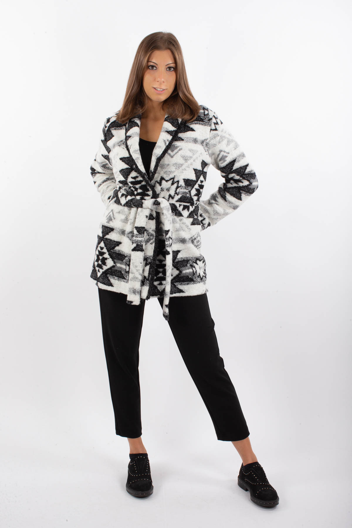 GIACCA IN MISTO LANA CON CINTURA   for woman - CREAM - Paquito Pronto Moda Shop Online