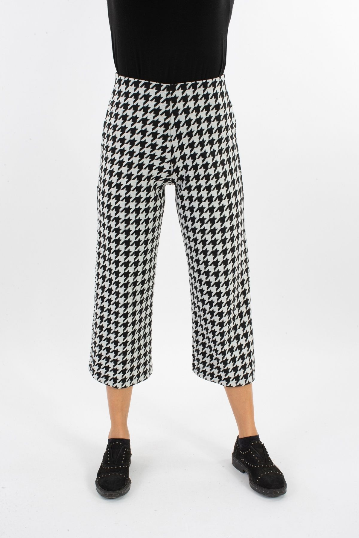 PANTALONE CROPPED IN PIED DE POULLE  for woman - WHITE/BLACK - Paquito Pronto Moda Shop Online