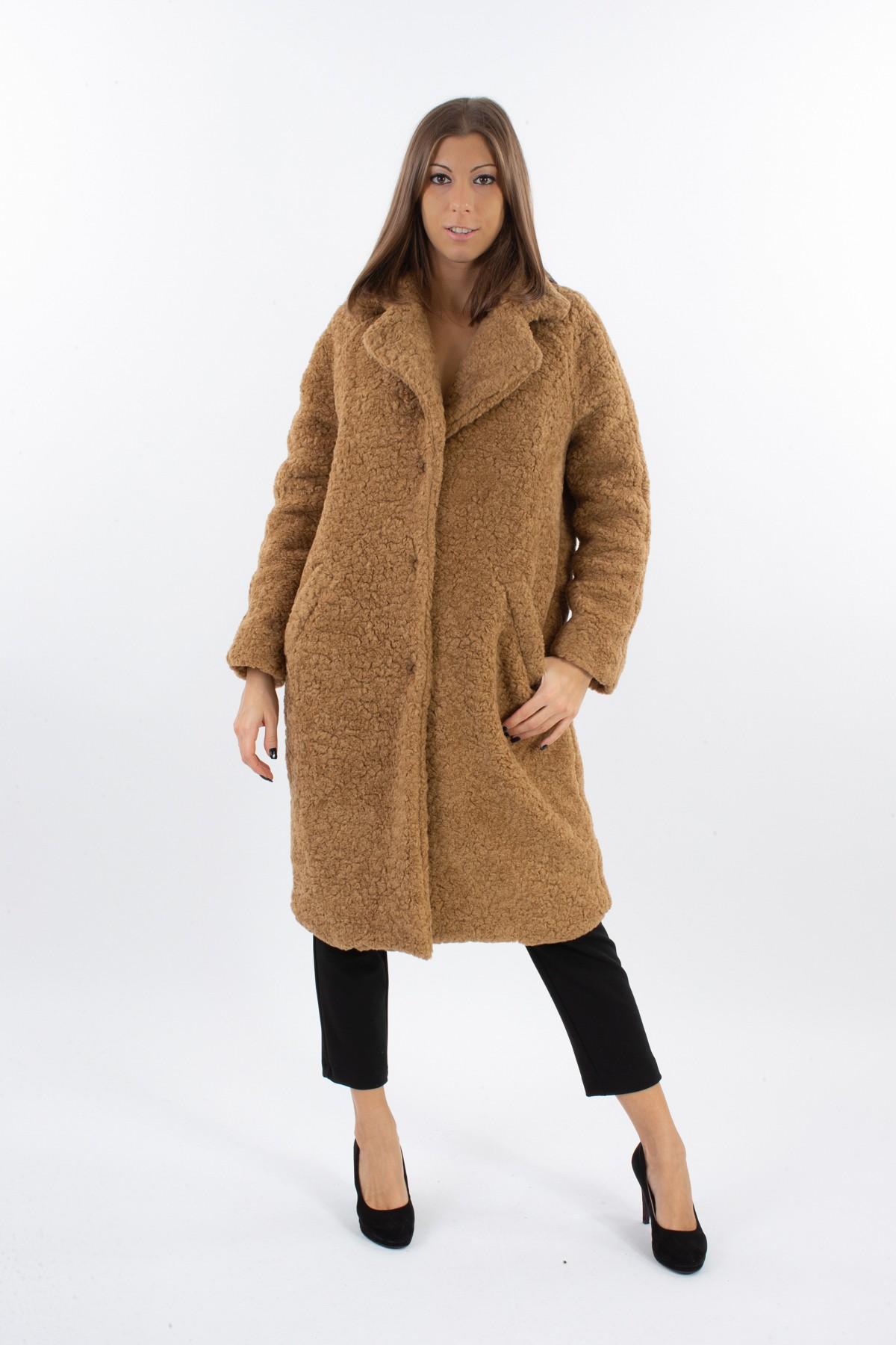 CAPPOTTO IN MISTO LANA BOUCLE'  da donna - CAMMELLO - Paquito Pronto Moda Shop Online