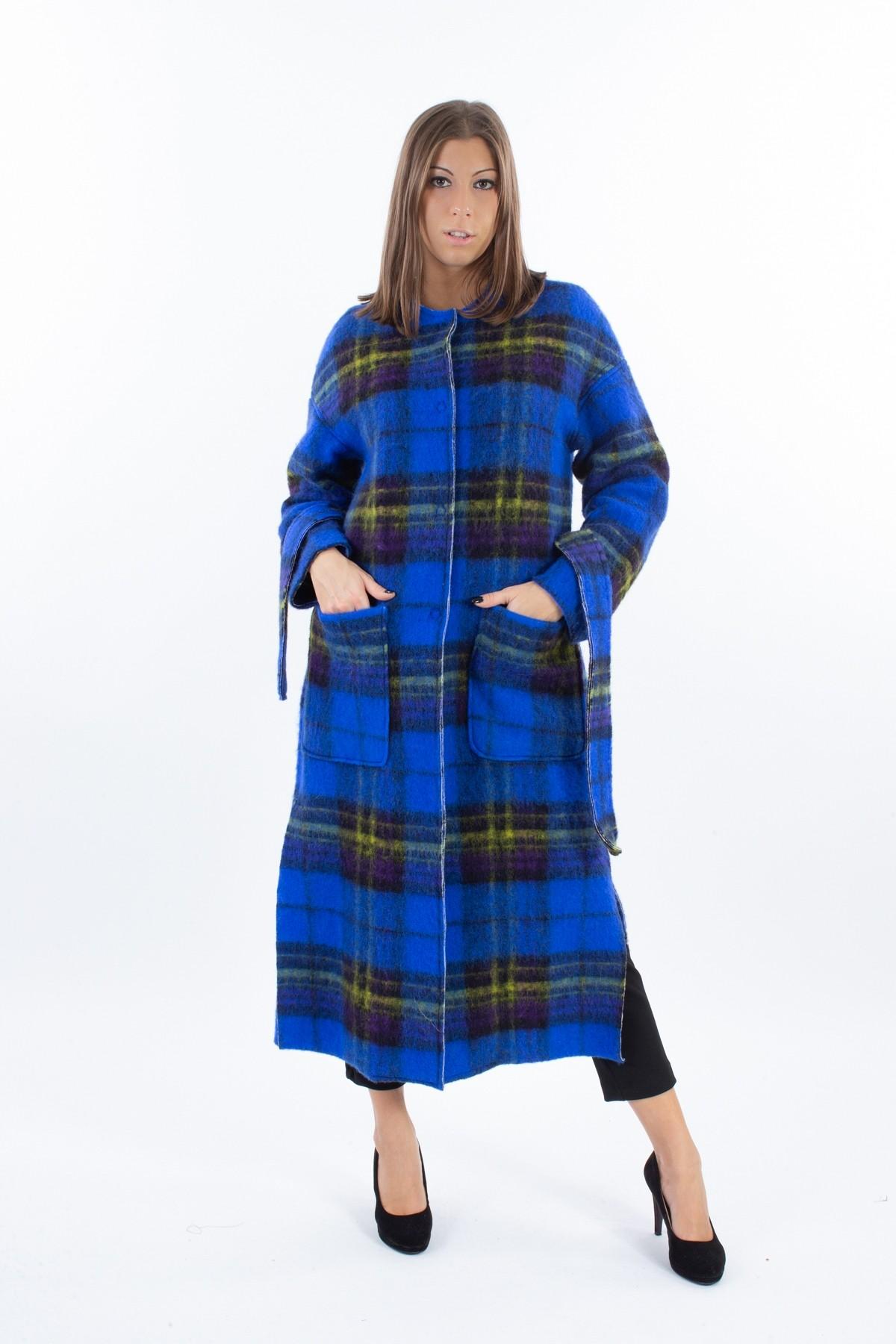 CAPPOTTO IN MISTO VISCOSA FANTASIA A QUADRI   for woman -  - Paquito Pronto Moda Shop Online