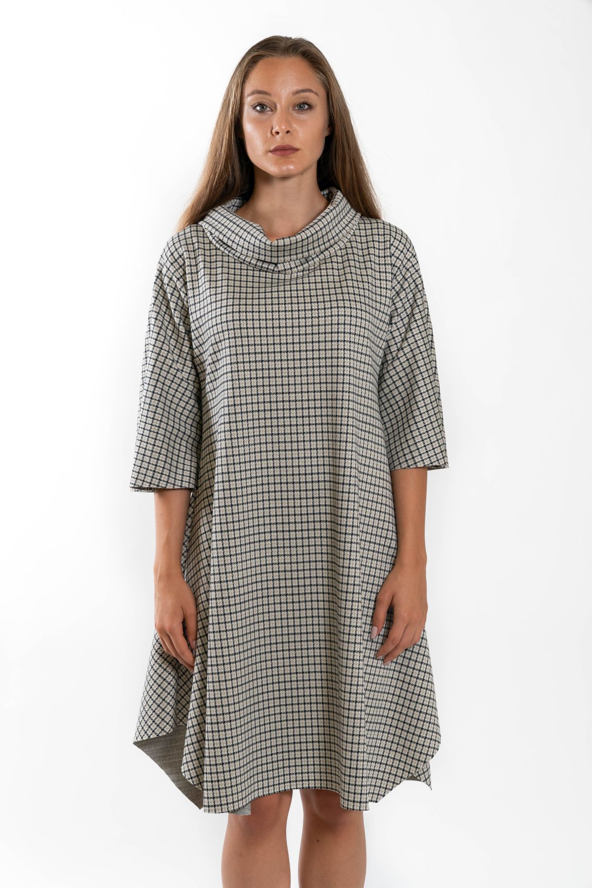 CHECKED FANTASY DRESS WITH 3/4 SLEEVES  for woman - ONLY - Paquito Pronto Moda Shop Online