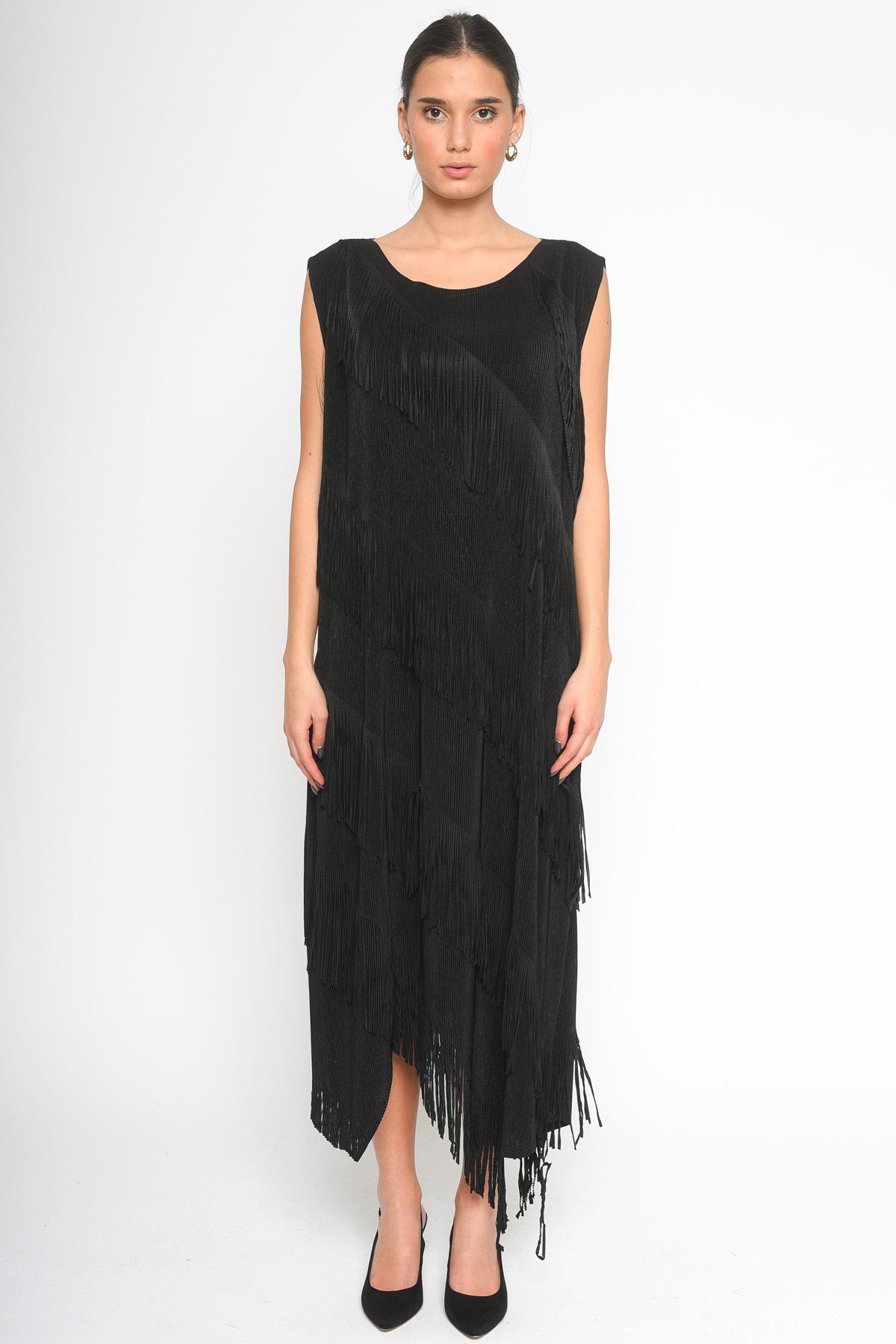ABITO LUNGO CON FRANGE  for woman - BLACK - Paquito Pronto Moda Shop Online