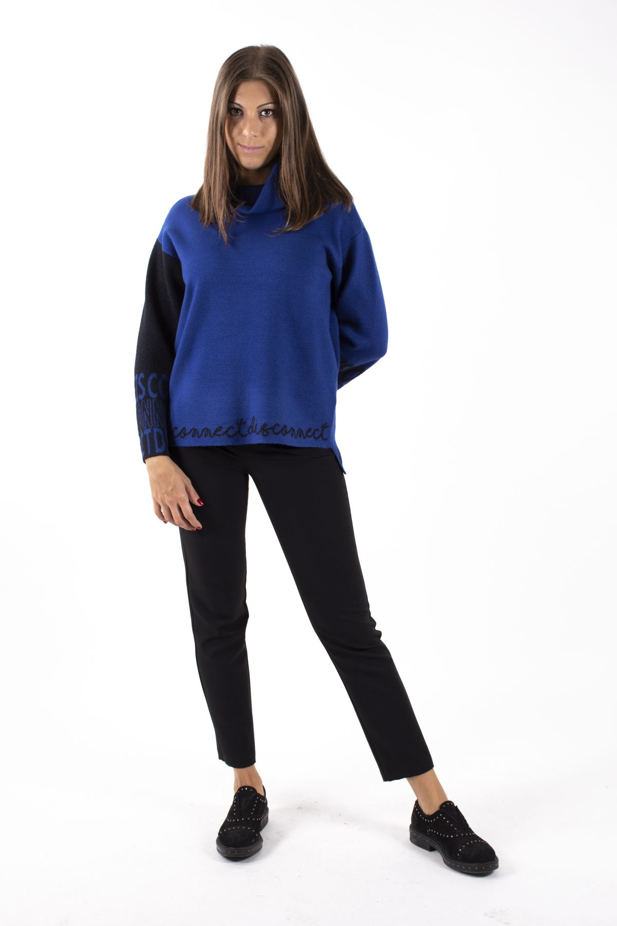 BICOLOR SWEATER WITH BUTTONS ON THE BACK AND ASYMMETRICAL AT THE BOTTOM  for woman - BLUETTE - Paquito Pronto Moda Shop Online