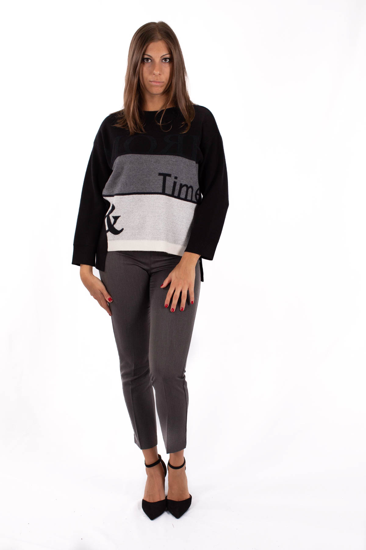 TRICOLOR SWEATER ASYMMETRICAL AT THE BOTTOM  for woman - BLACK - Paquito Pronto Moda Shop Online