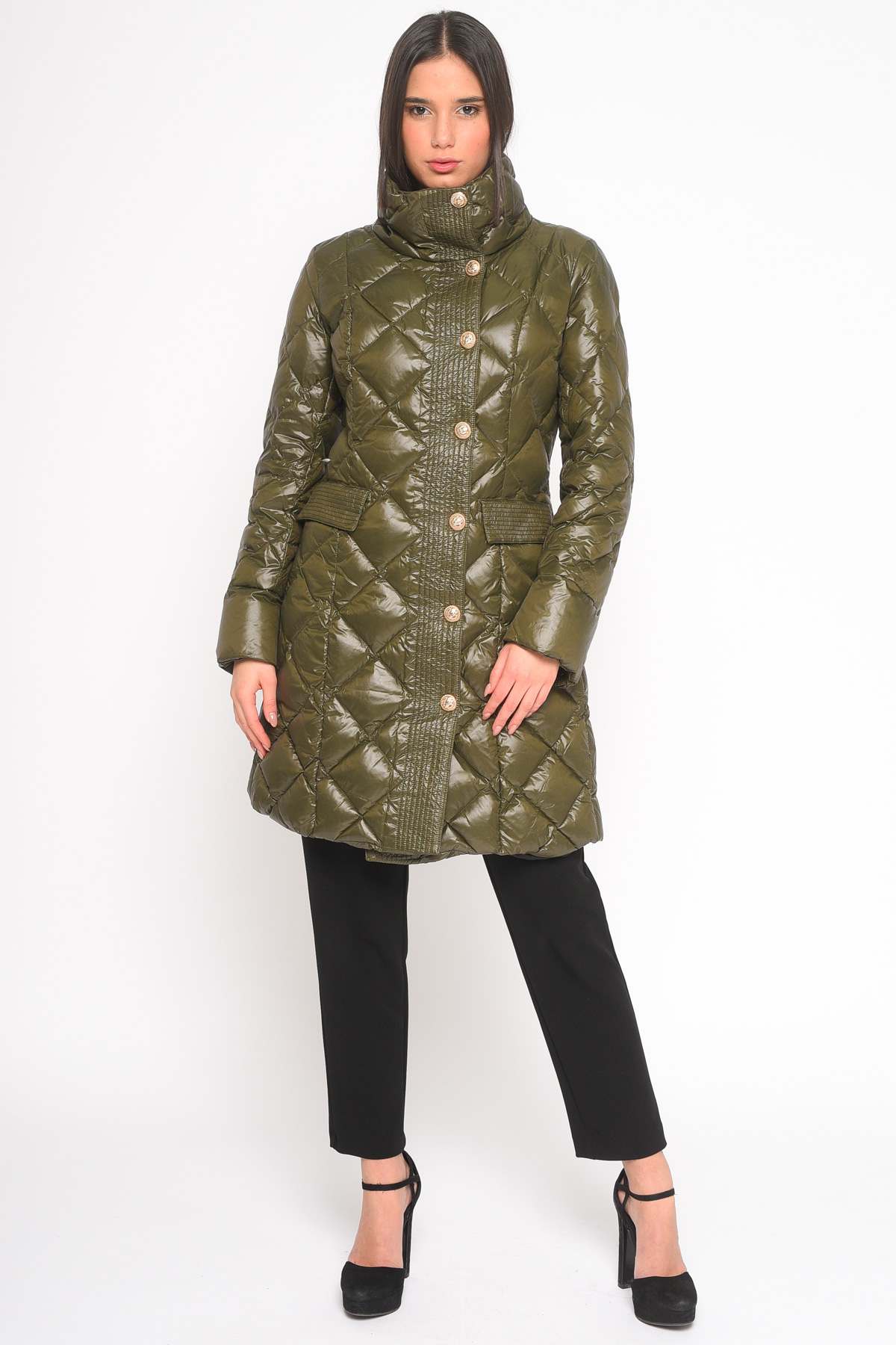 MEDIUM-LENGTH DOWN JACKET IN REAL FEATHER WITH GOLDEN BUTTONS  for woman - DARK GREEN - Paquito Pronto Moda Shop Online