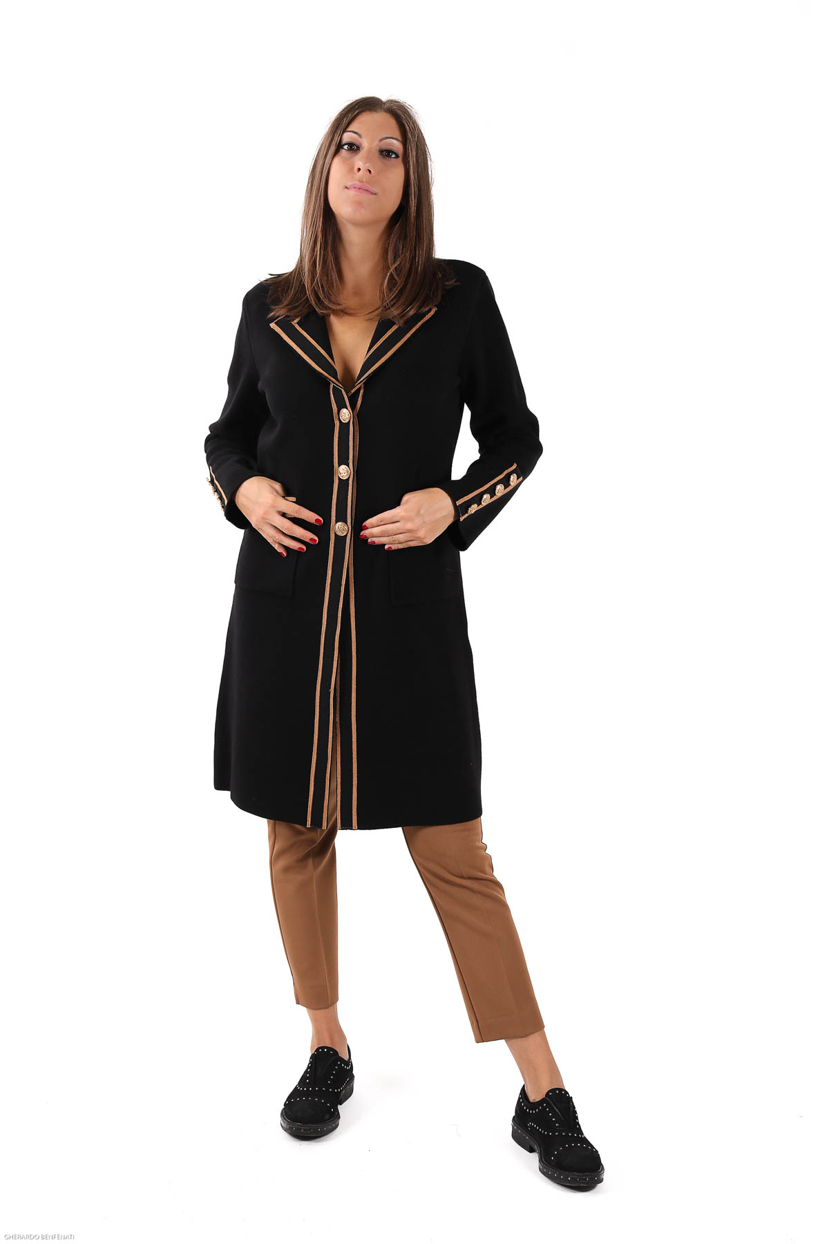 VISCOSE PROFILE COAT WITH GOLD BUTTONS  for woman - BLACK - Paquito Pronto Moda Shop Online