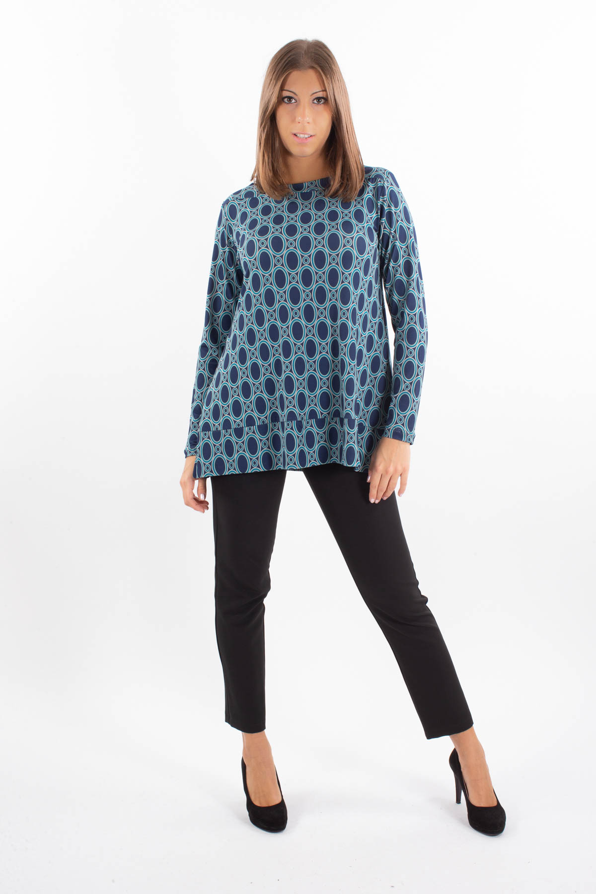 OPTICAL POLYVISCOSE SWEATER FLARED ON THE BOTTOM  for woman - BLUE - Paquito Pronto Moda Shop Online