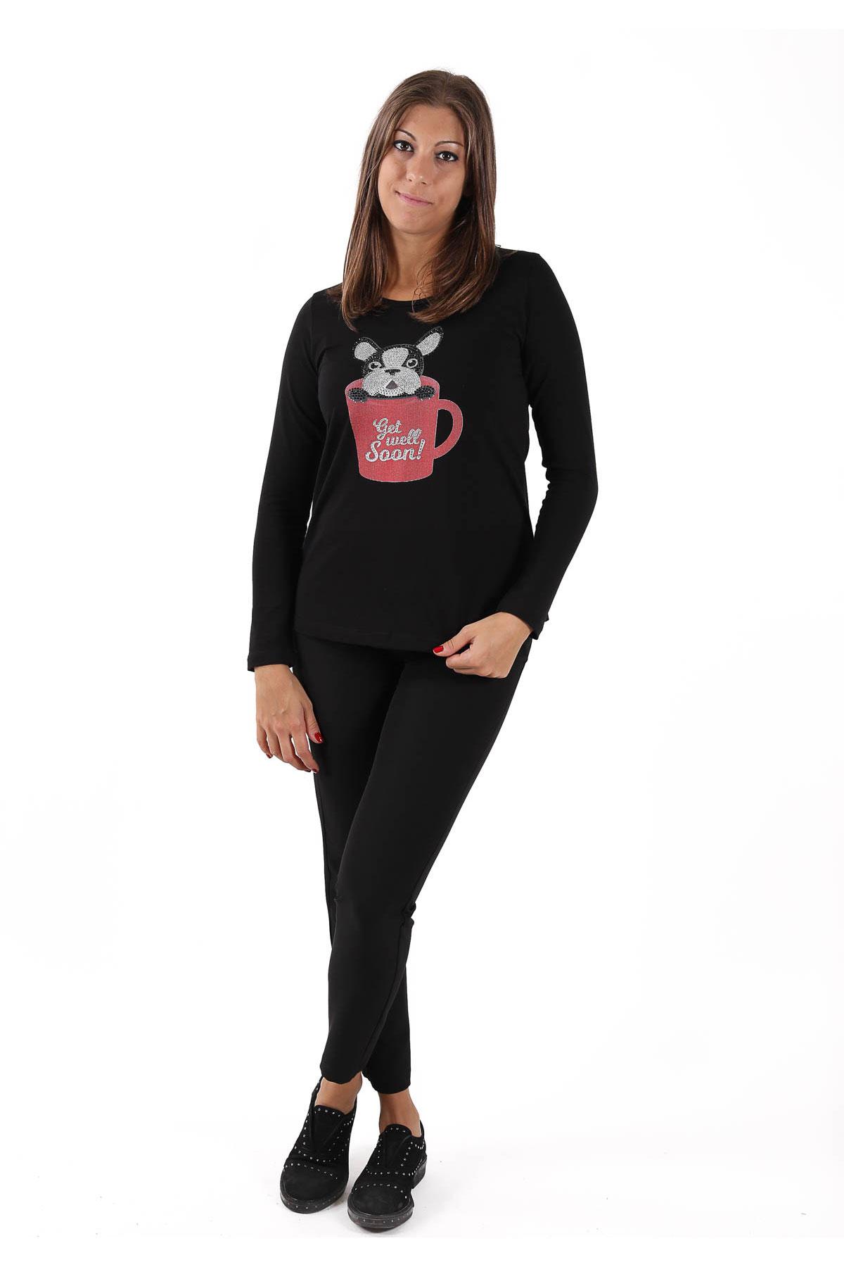 T-SHIRT A MANICA LUNGA IN COTONE STAMPATA CON APPLICAZIONE STRASS  da donna - NERO - Paquito Pronto Moda Shop Online