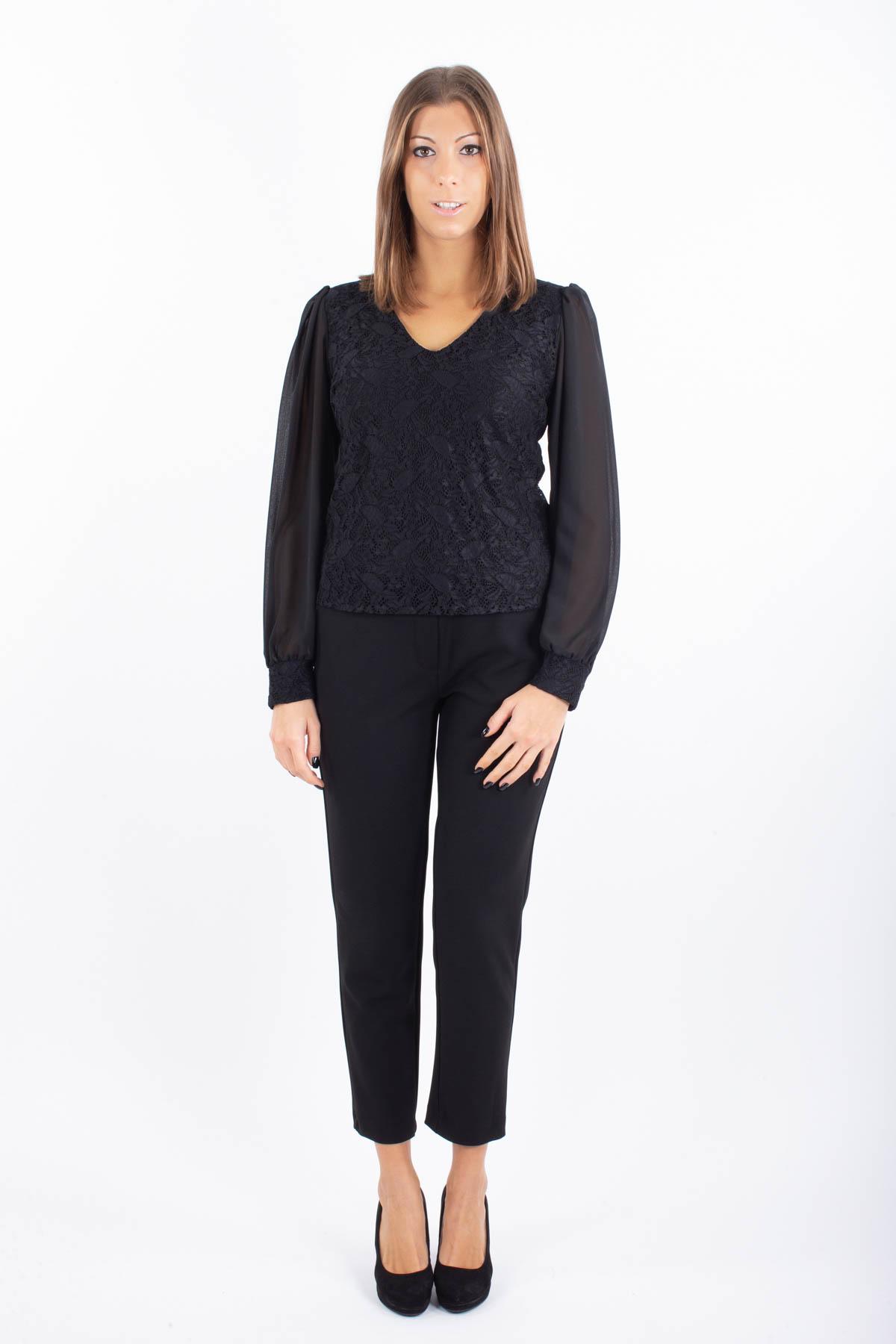 BLUSA IN PIZZO CON MANICA TRASPARENTE  for woman - BLACK - Paquito Pronto Moda Shop Online
