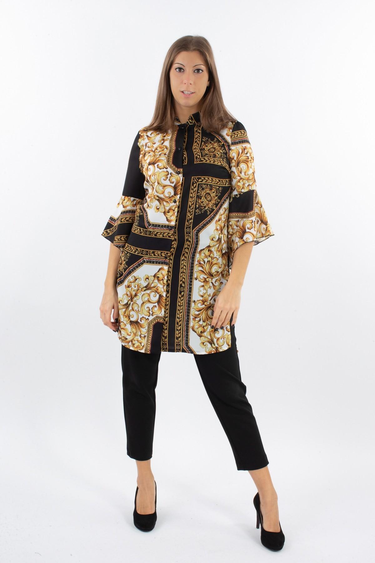 CAMICIA LUNGA IN FANTASIA for women - BLACK - Paquito Pronto Moda Shop Online