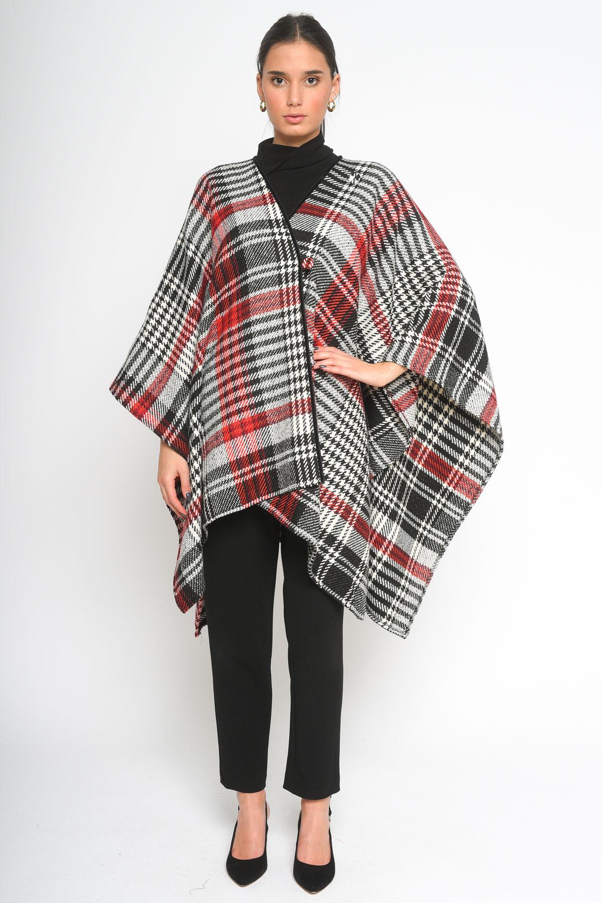 MANTELLA STILE PONCHO SCOZZESE  da donna - NERO/ROSSO - Paquito Pronto Moda Shop Online