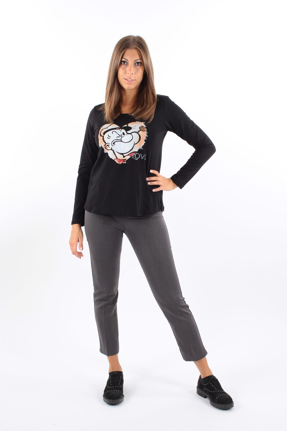 COTTON LONG-SLEEVED T-SHIRT  for woman - BLACK - Paquito Pronto Moda Shop Online