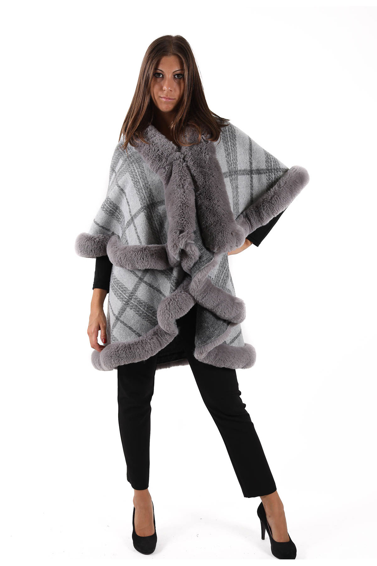 GIACCA A MANTELLA IN FANTASIA QUADRI CON BORDO IN ECOPELO  for woman - ONLY - Paquito Pronto Moda Shop Online