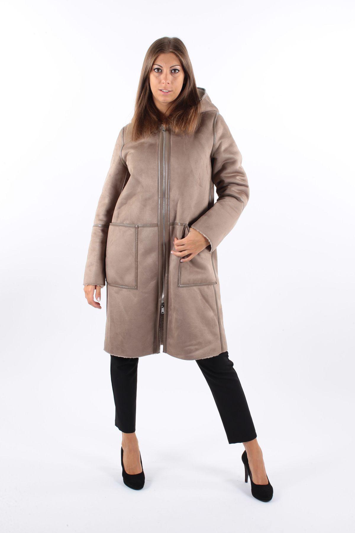 CAPPOTTO MONTONE LUNGO CON CAPPUCCIO REVERSIBILE  for woman -  - Paquito Pronto Moda Shop Online
