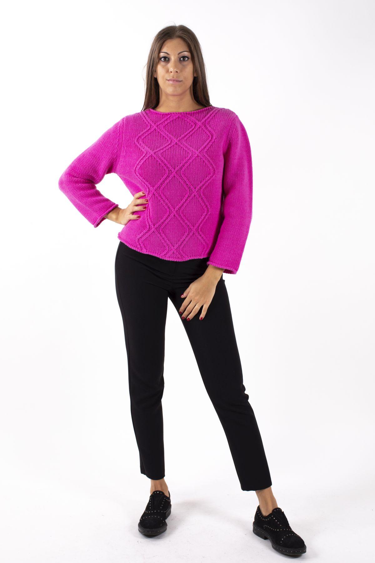 MAGLIA GIROCOLLO IN PURA LANA CON LAVORAZIONI SUL DAVANTI  for woman - PINK - Paquito Pronto Moda Shop Online
