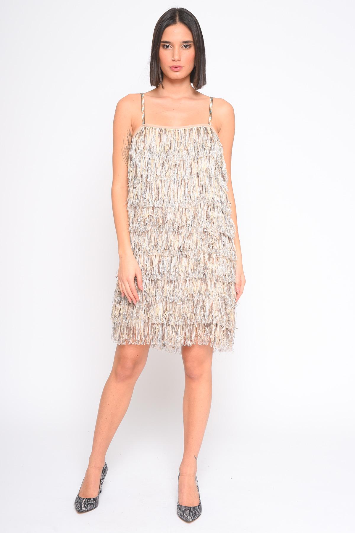 ABITO CON TESSUTO A FRANGE da donna - BEIGE - Paquito Pronto Moda Shop Online