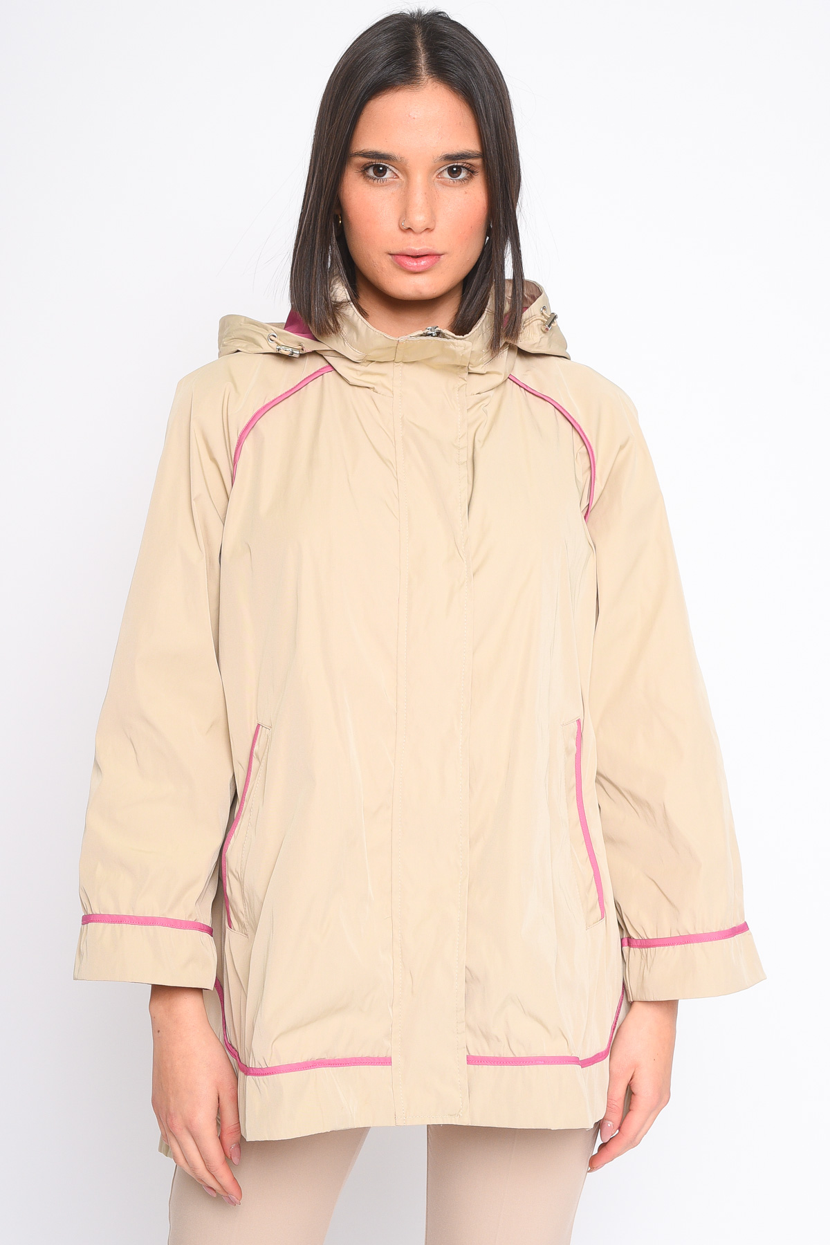 GIACCA PROFILATA CON CAPPUCCIO  da donna - BEIGE - Paquito Pronto Moda Shop Online