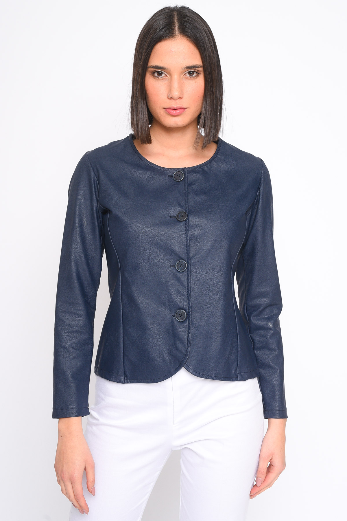 GIACCA CORTA IN ECOPELLE for women - BLUE - Paquito Pronto Moda Shop Online