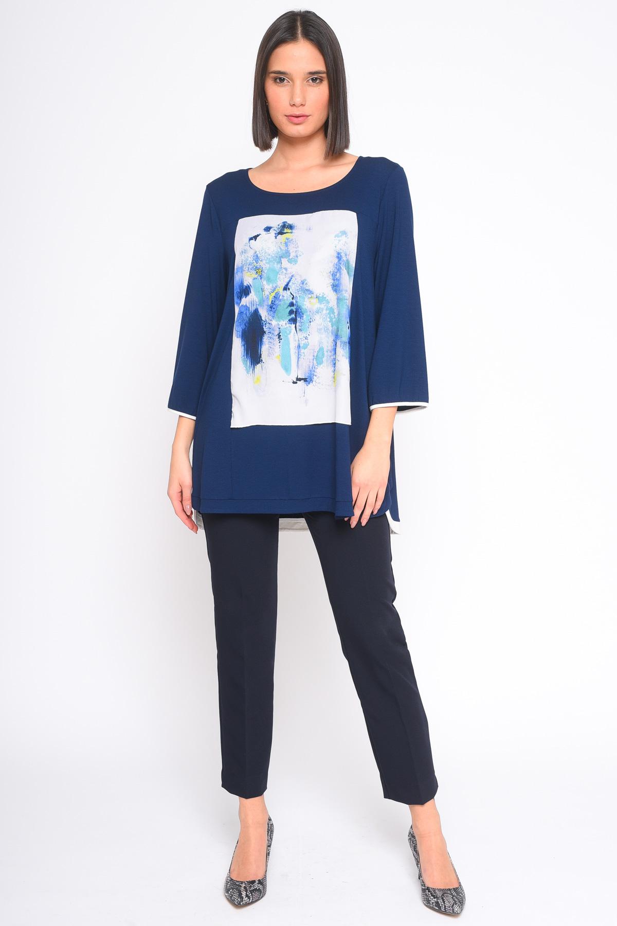 MAGLIA CON STAMPA ACQUARELLO for women - BLUE - Paquito Pronto Moda Shop Online