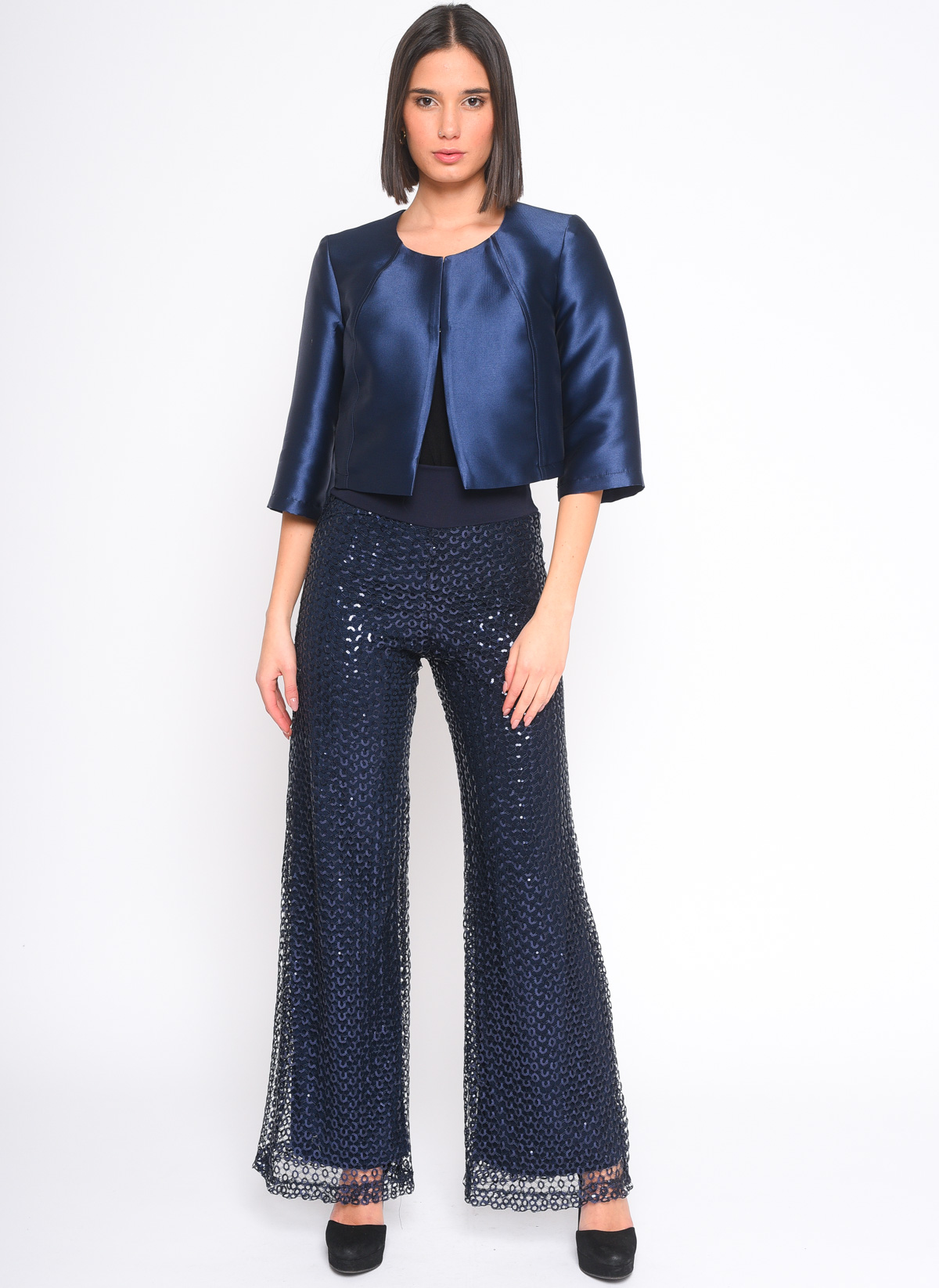 GIACCA BOLERO IN SHANTUNG for women - BLUE - Paquito Pronto Moda Shop Online