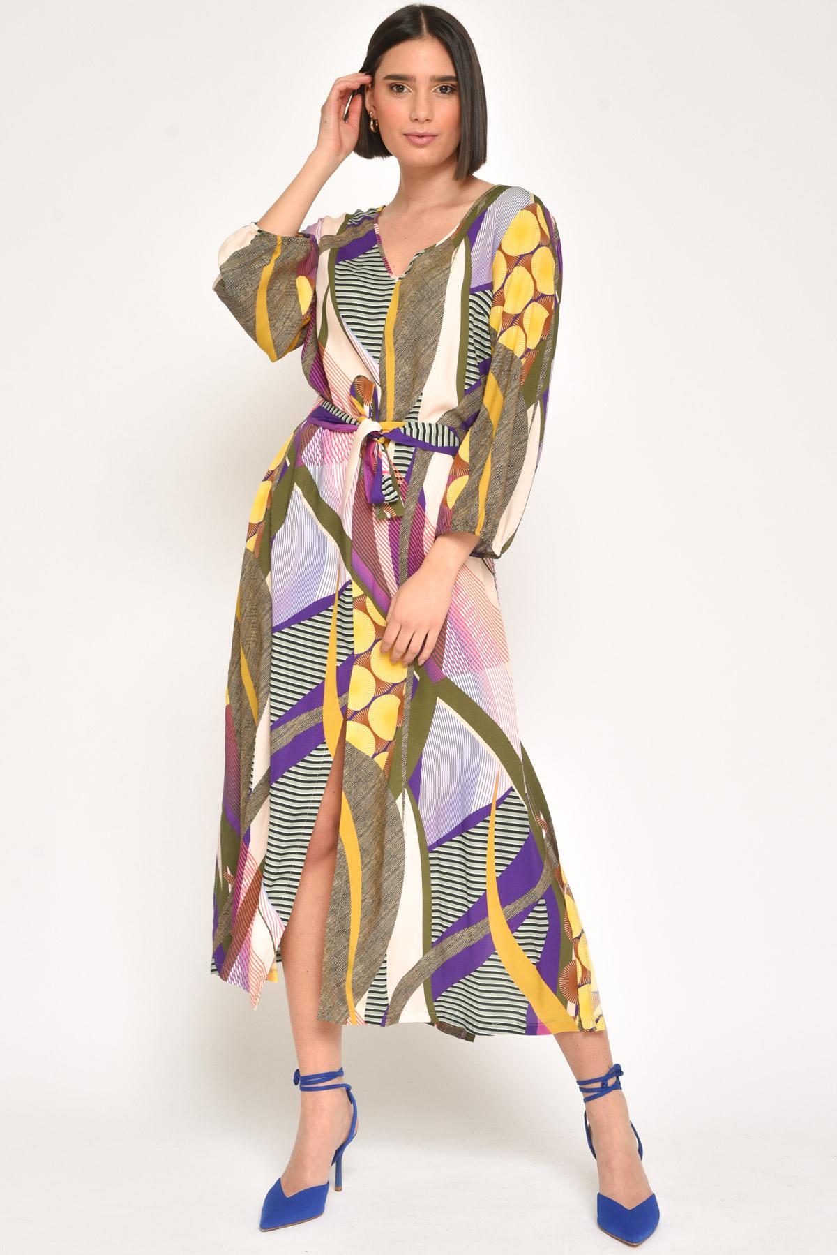 ABITO FANTASY 100% VISCOSA  da donna - MILITARE - Paquito Pronto Moda Shop Online