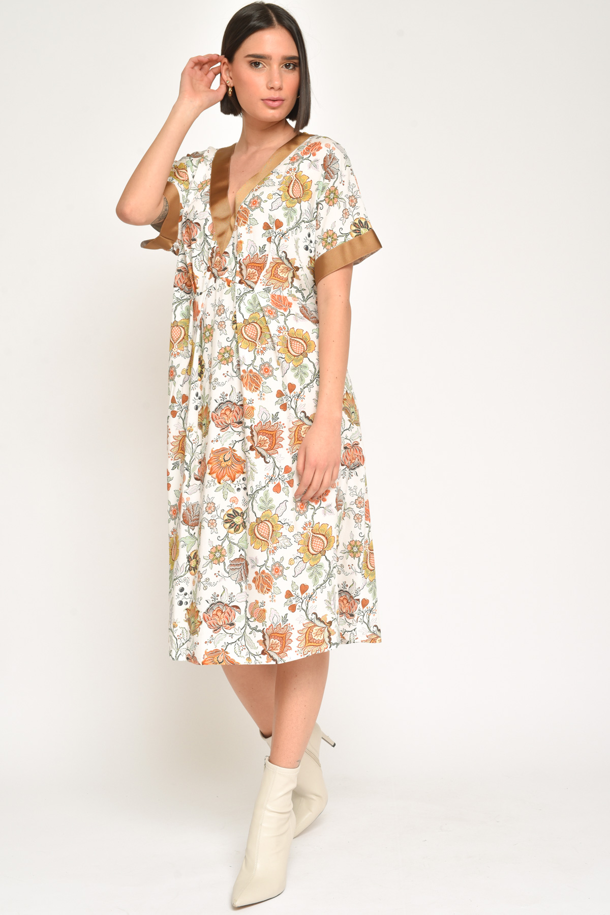 ABITO A TRAPEZIO 100% VISCOSA  da donna - BIANCO - Paquito Pronto Moda Shop Online
