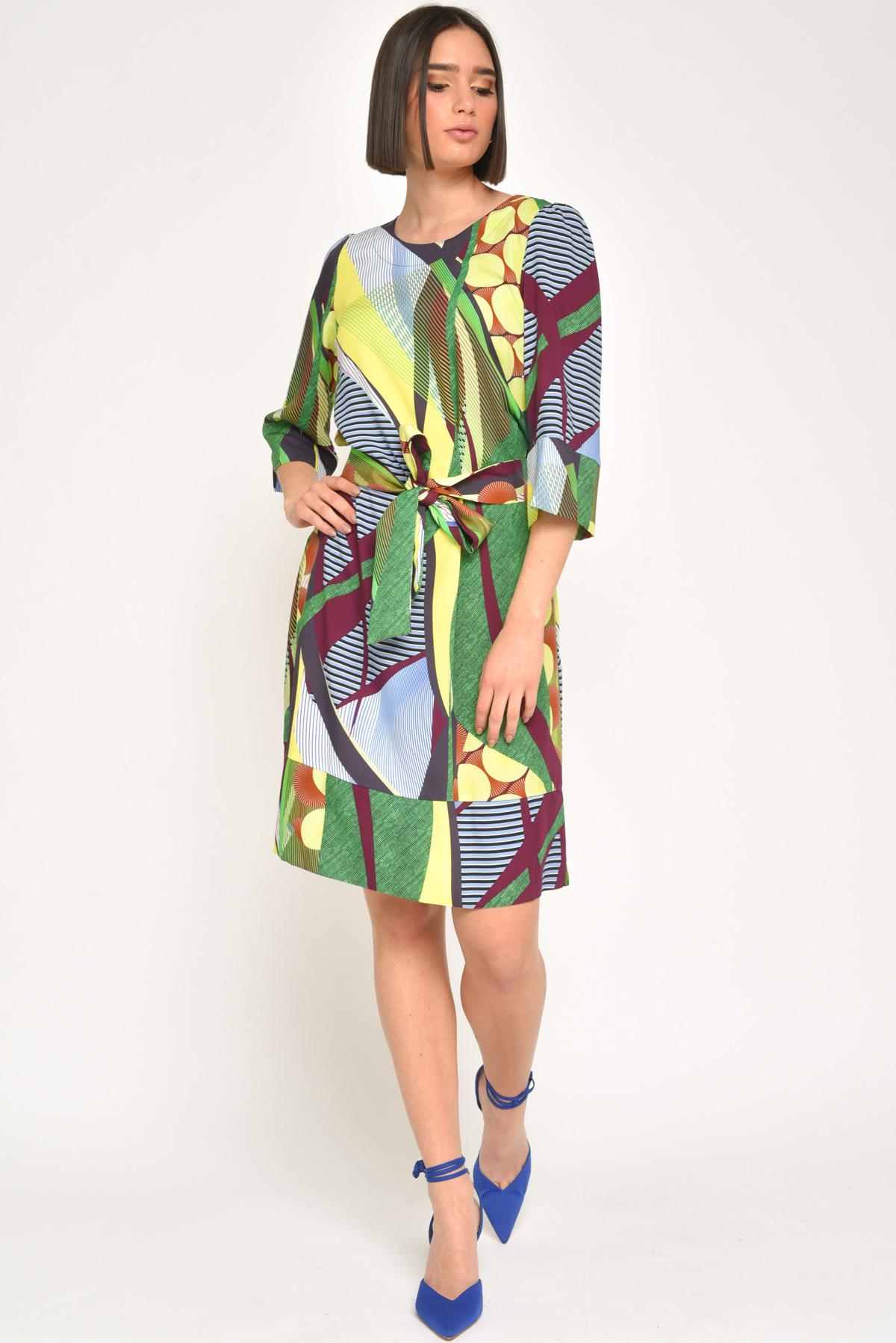 ABITO FANTASY CORTO 100% VISCOSA da donna - ACIDO - Paquito Pronto Moda Shop Online