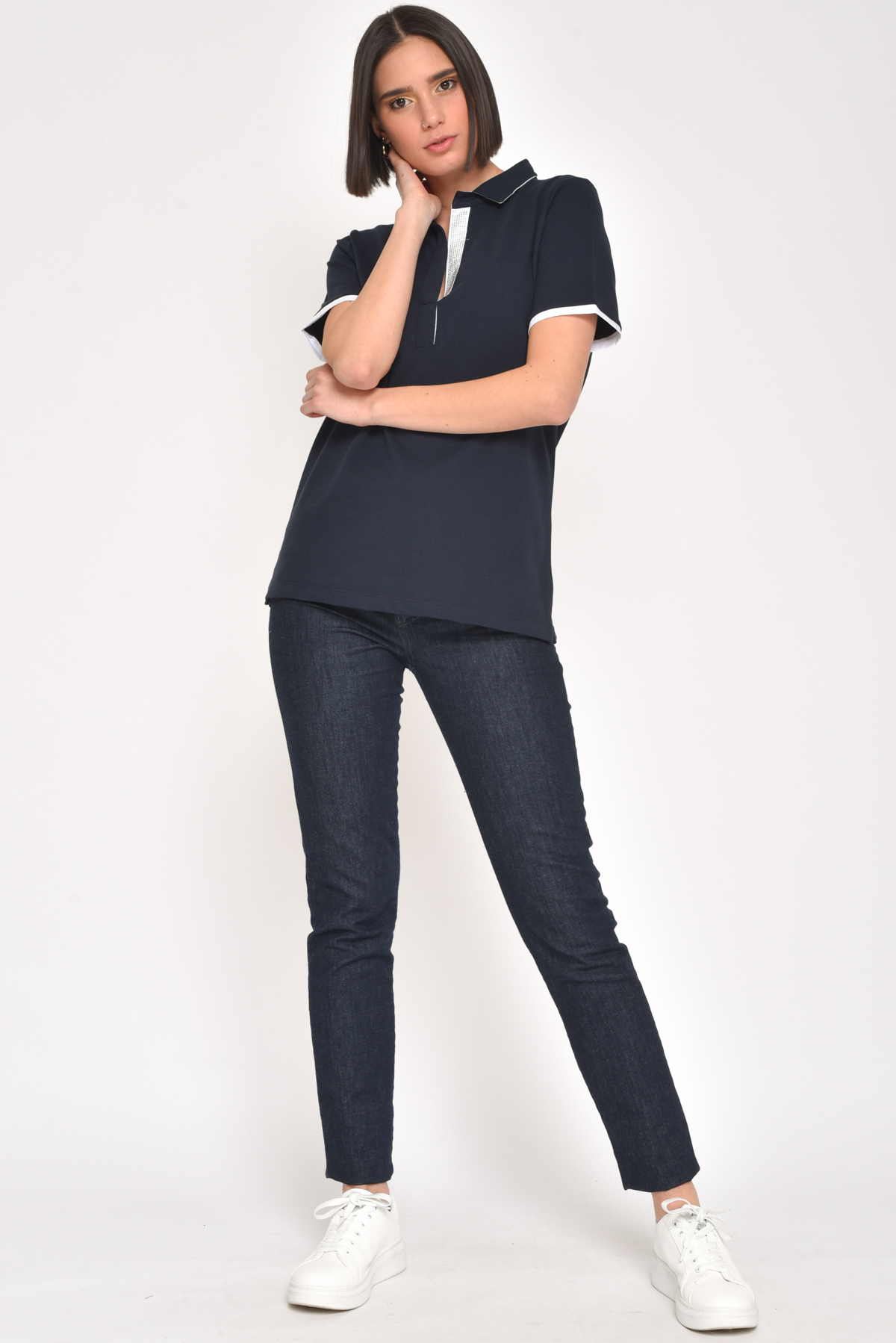 T-SHIRT CON COLLO A CAMICIA for women - BLUE - Paquito Pronto Moda Shop Online