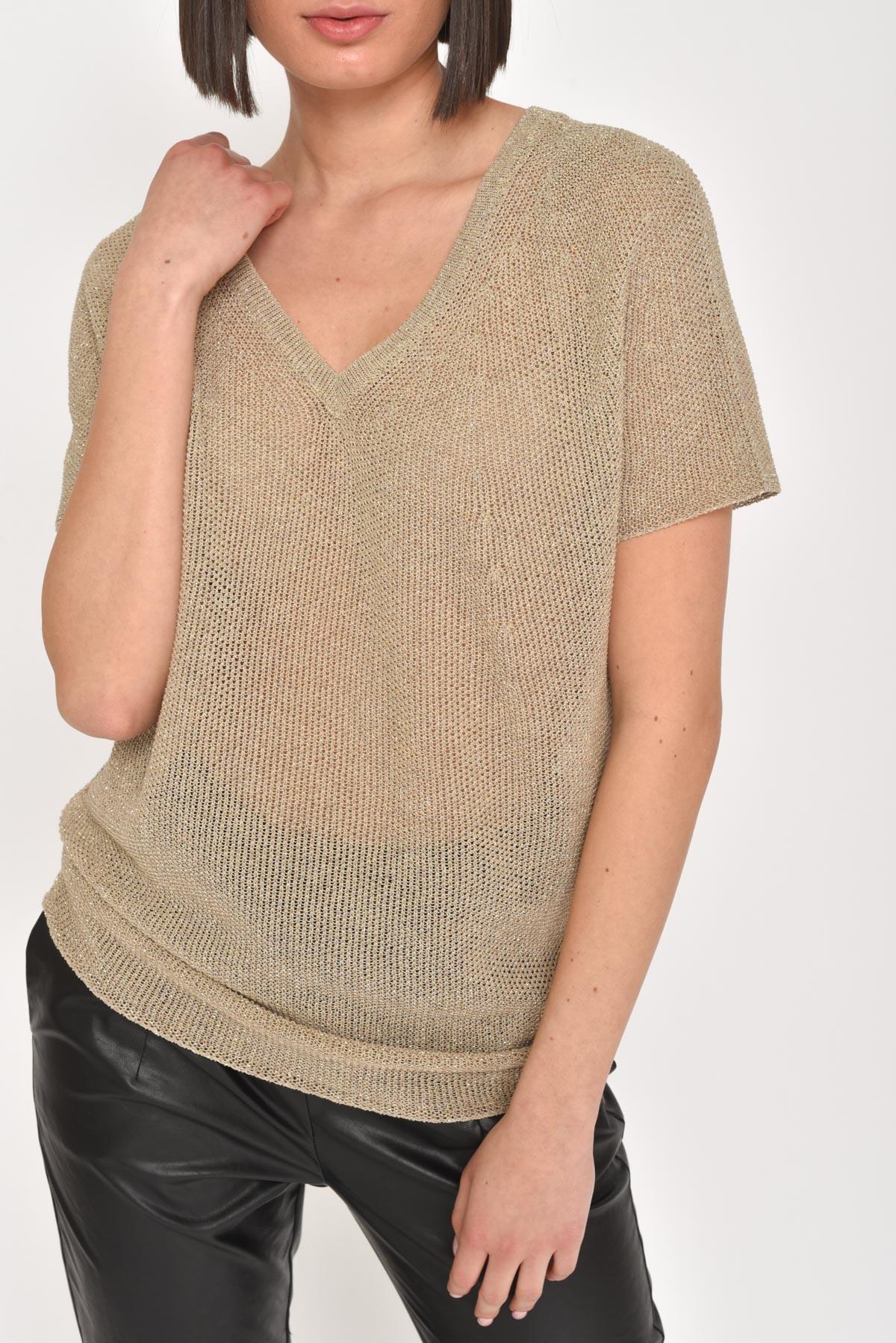 T-SHIRT LUREX IN COTONE for women - BEIGE - Paquito Pronto Moda Shop Online