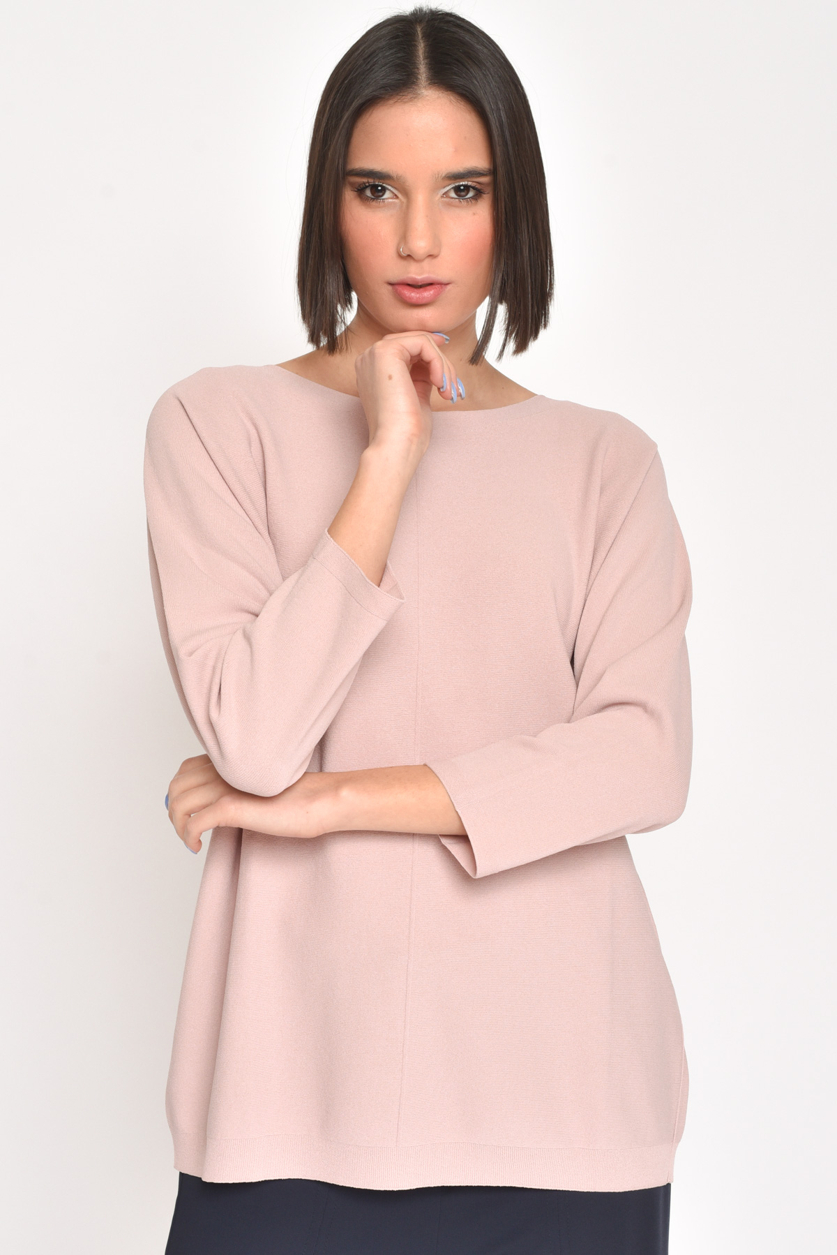 MAGLIA IN VISCOSA A BARCHETTA  da donna - ROSA - Paquito Pronto Moda Shop Online