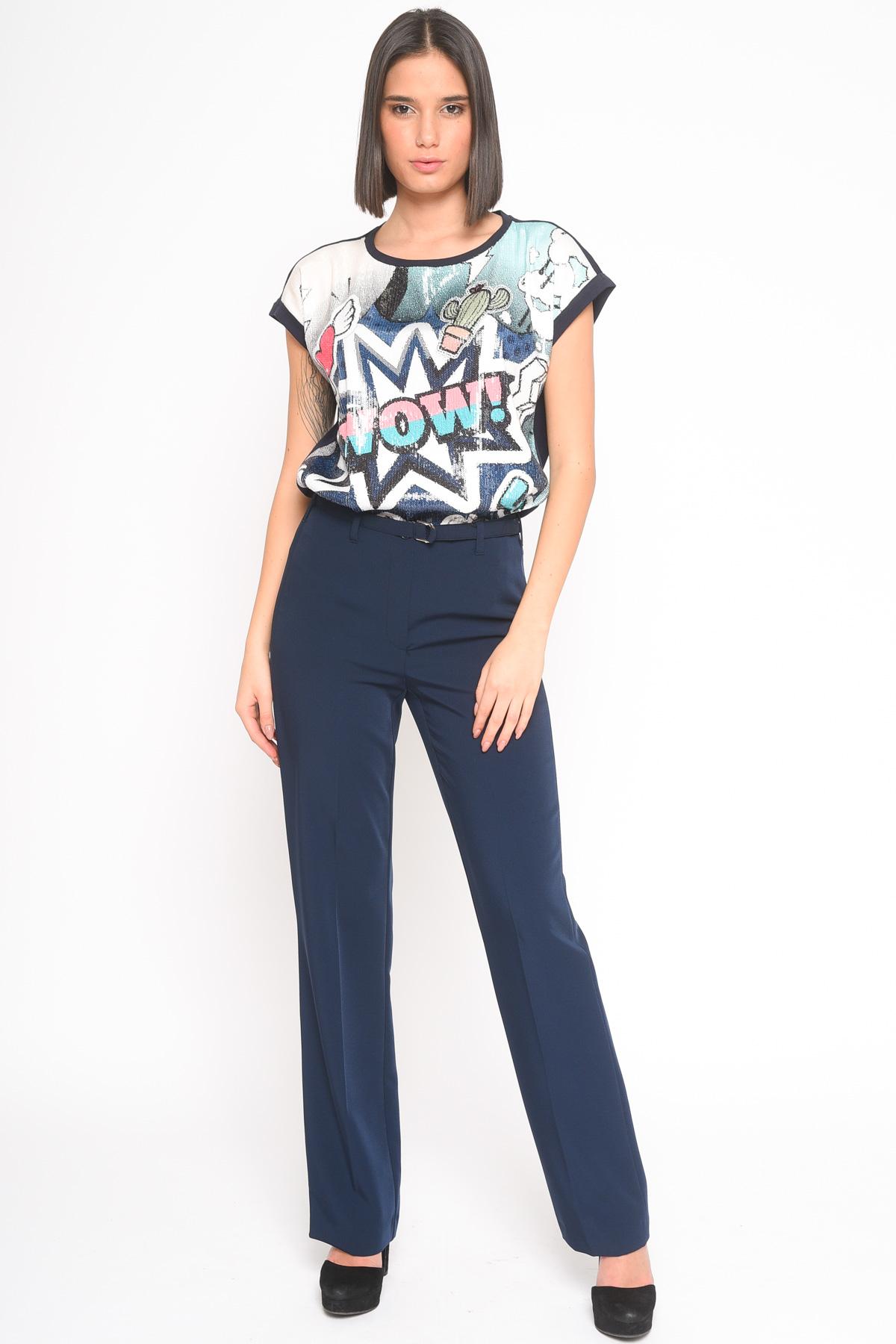 PANTALONI CON CINTURA for women - BLUE - Paquito Pronto Moda Shop Online