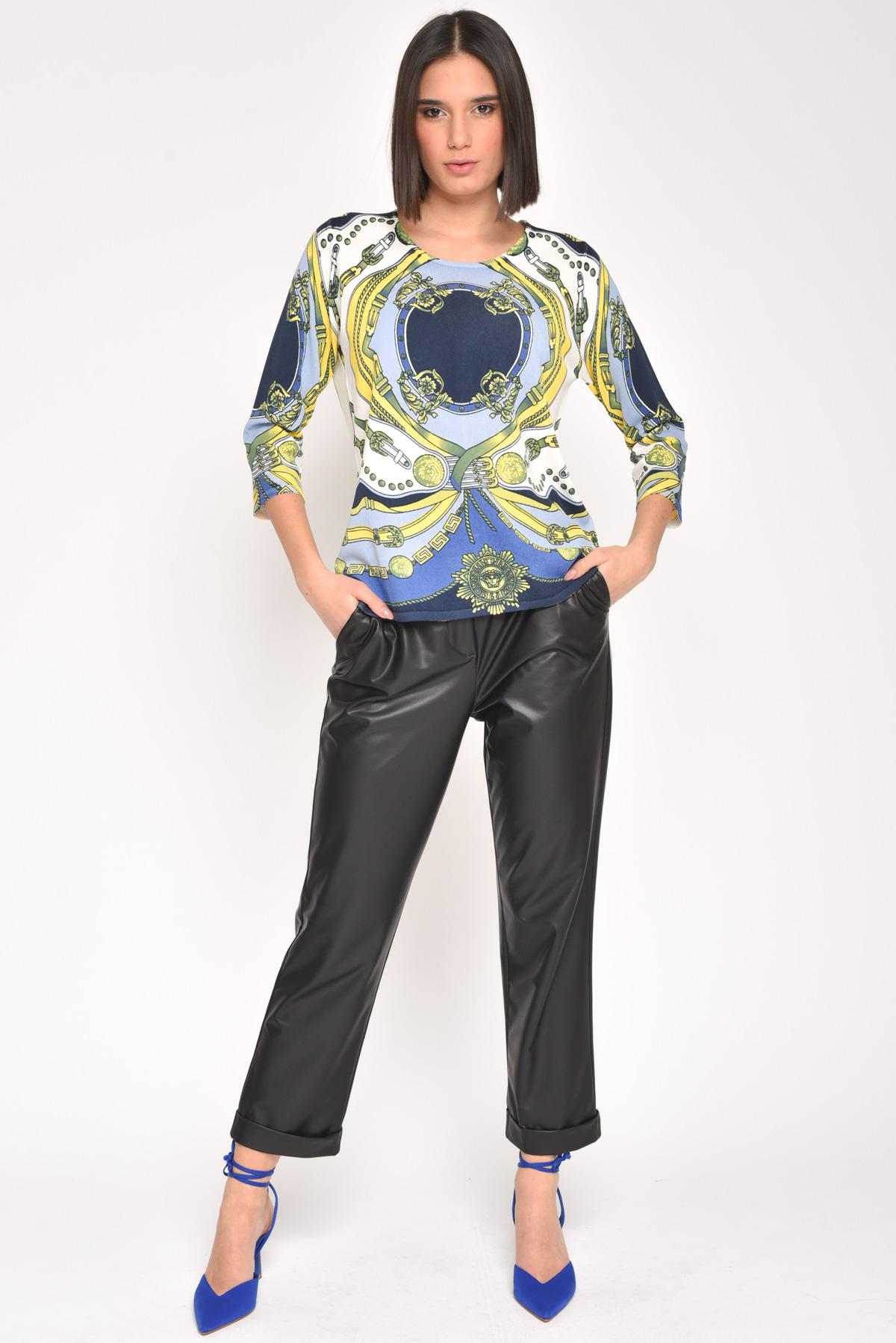 BLUSA IN VISCOSA A FANTASIA BAROCCA da donna - BLU - Paquito Pronto Moda Shop Online