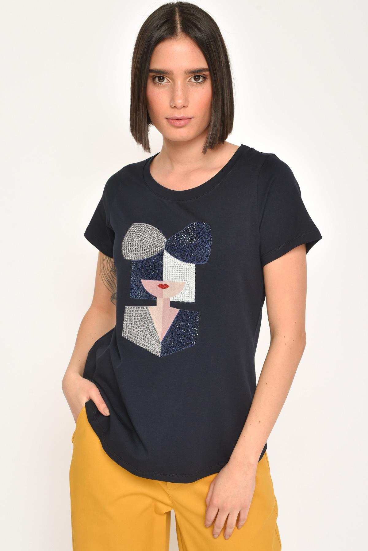 T-SHIRT WOMAN  IN COTONE CON STRASS da donna - BLU - Paquito Pronto Moda Shop Online