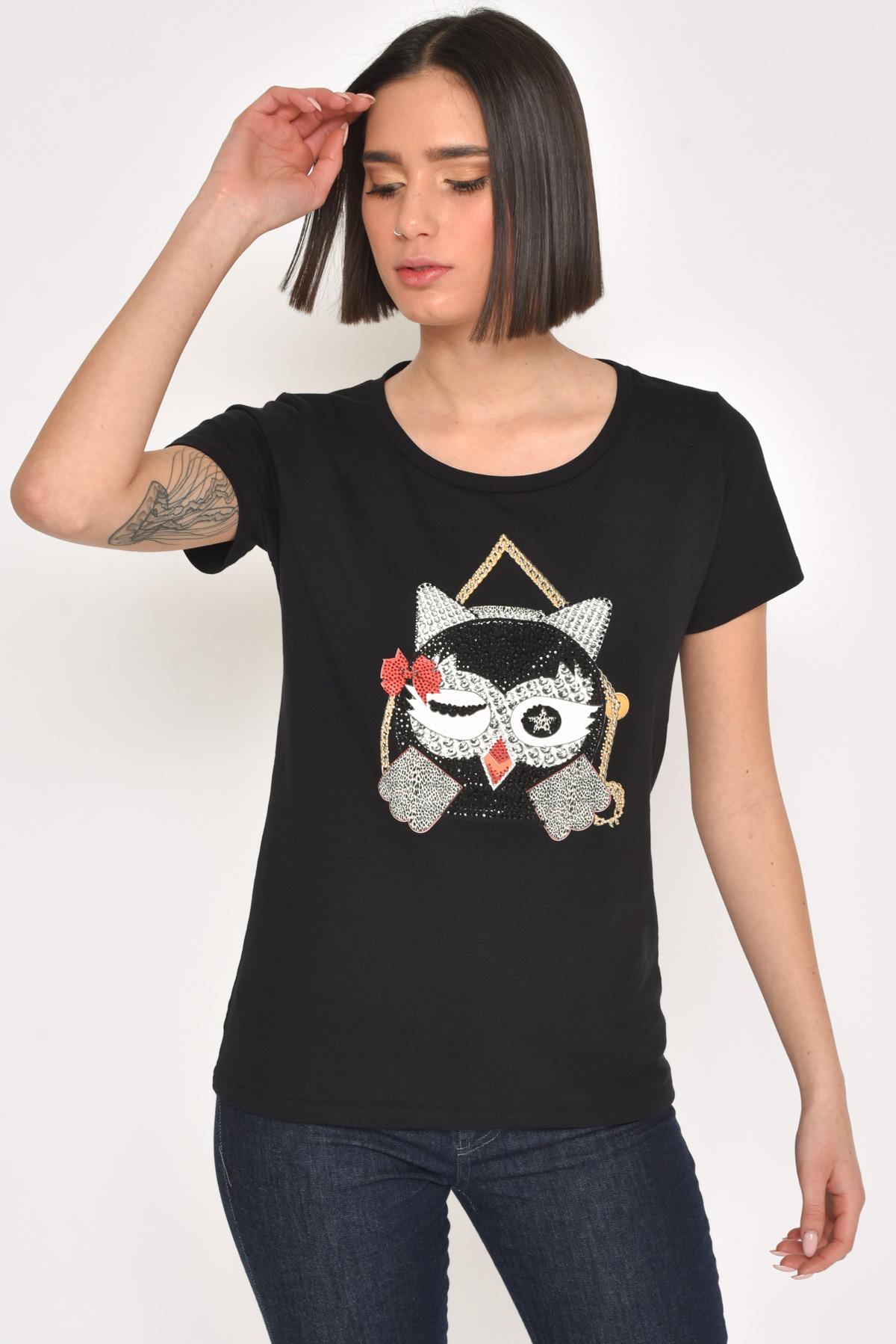 T-SHIRT IN COTONE STAMPA CON STRASS da donna -  - Paquito Pronto Moda Shop Online