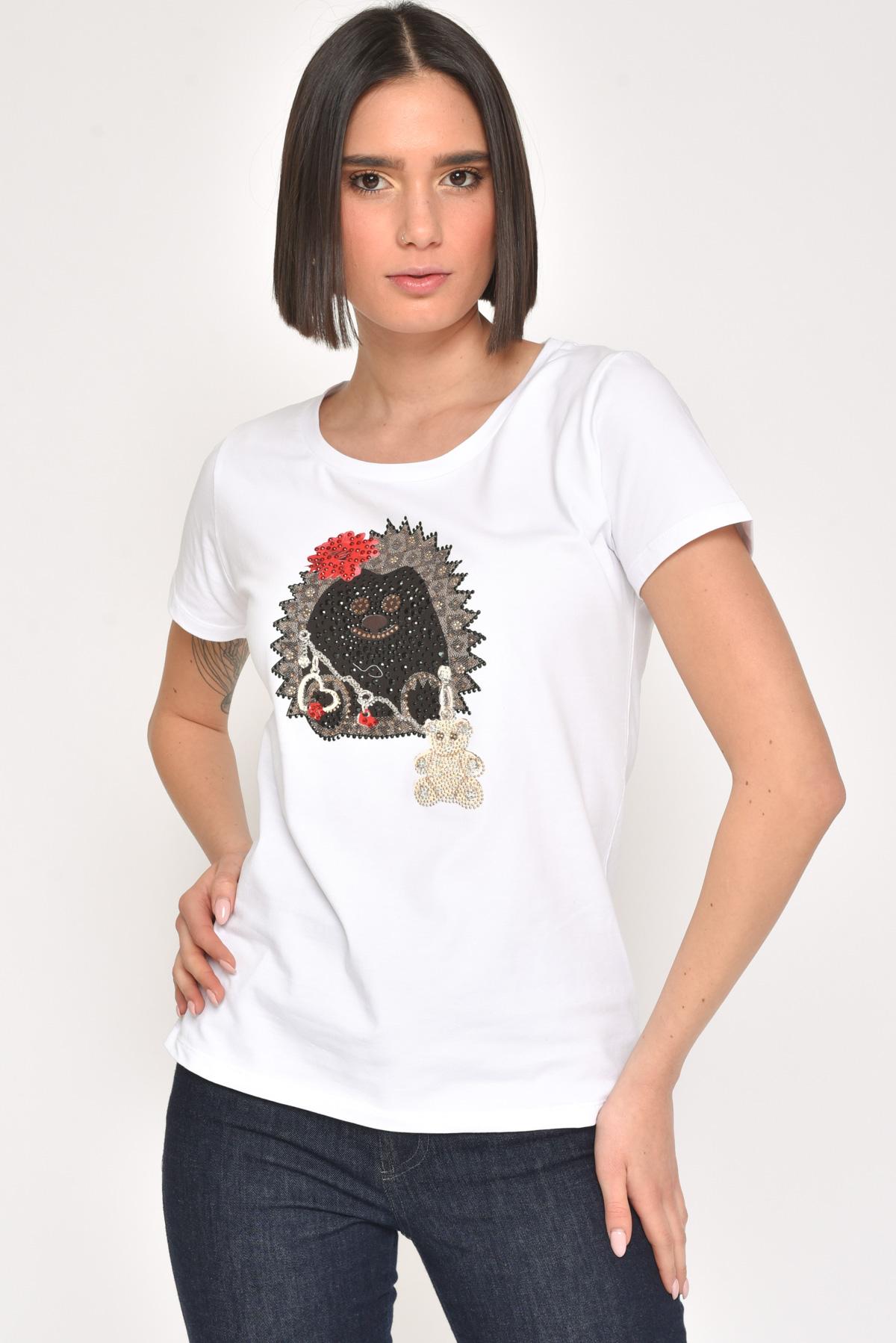 T-SHIRT IN COTONE STAMPA RICCIO CON STRASS for women - WHITE / BROWN - Paquito Pronto Moda Shop Online