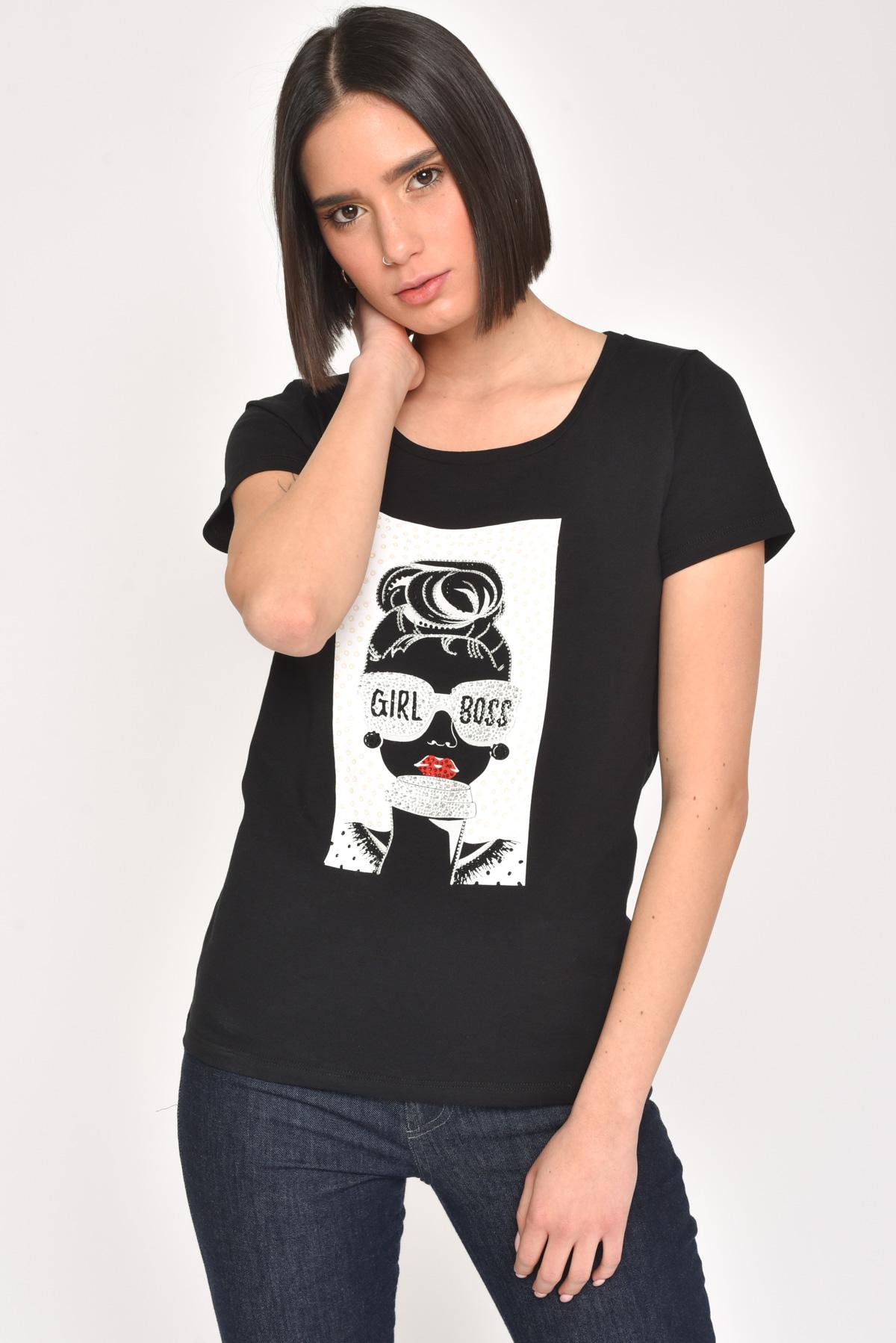 T-SHIRT GIRL BOSS IN COTONE CON STRASS for women - BLACK - Paquito Pronto Moda Shop Online