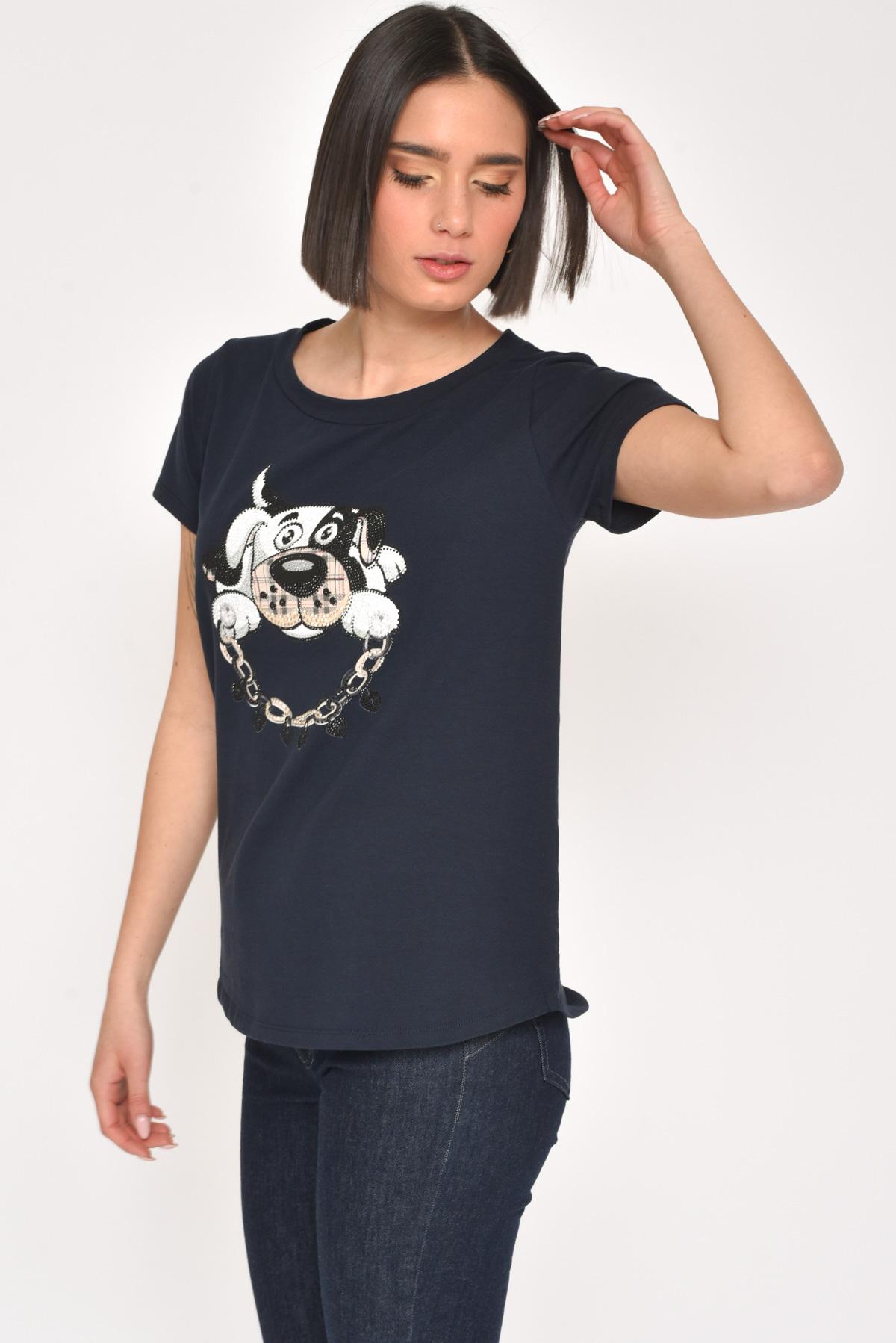 T-SHIRT IN COTONE STAMPA CANE CON STRASS da donna - BLU - Paquito Pronto Moda Shop Online